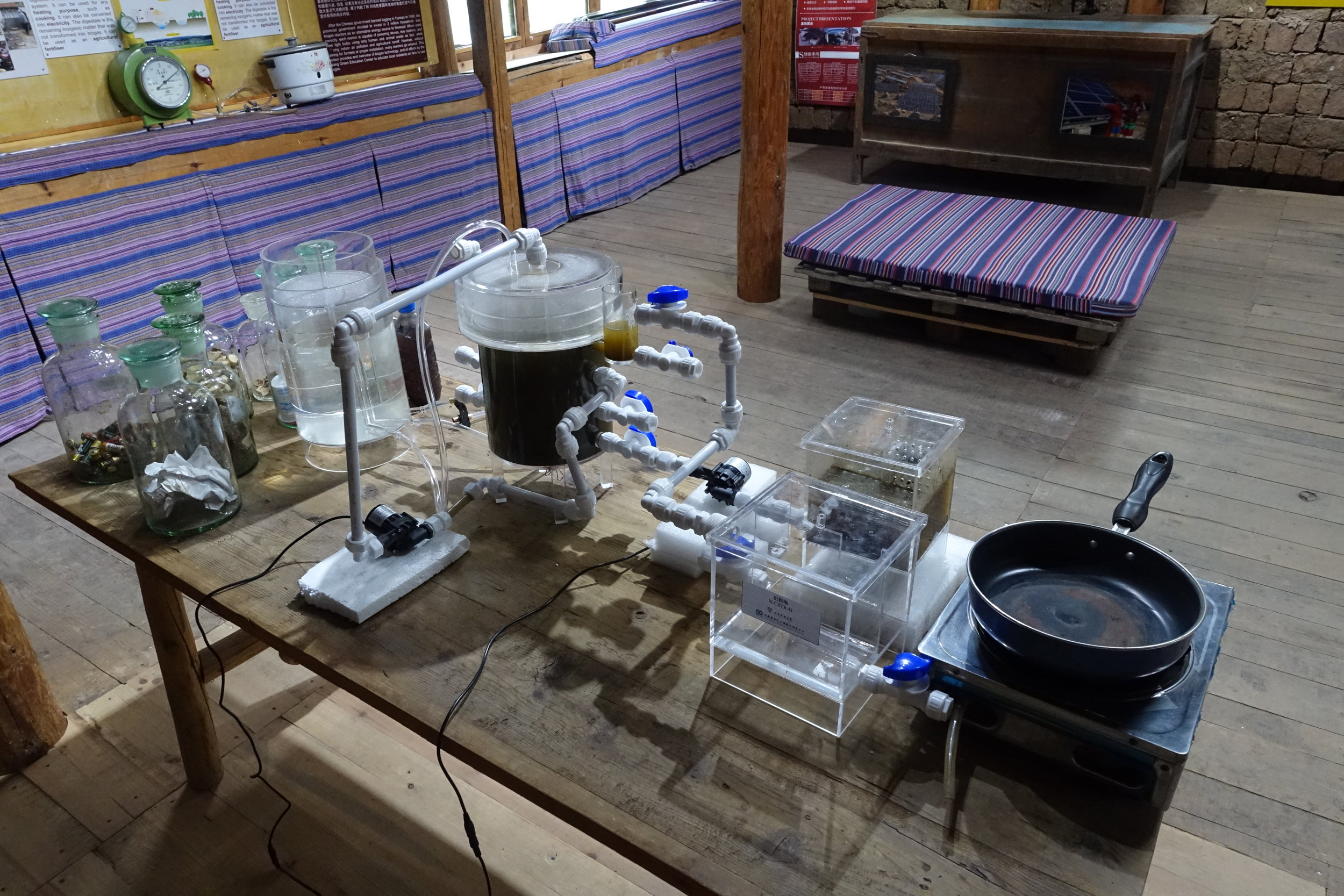 A fully functional small scale model of biogas generator, generously donated by Prof. Zhang Wudi of Yunnan Normal University