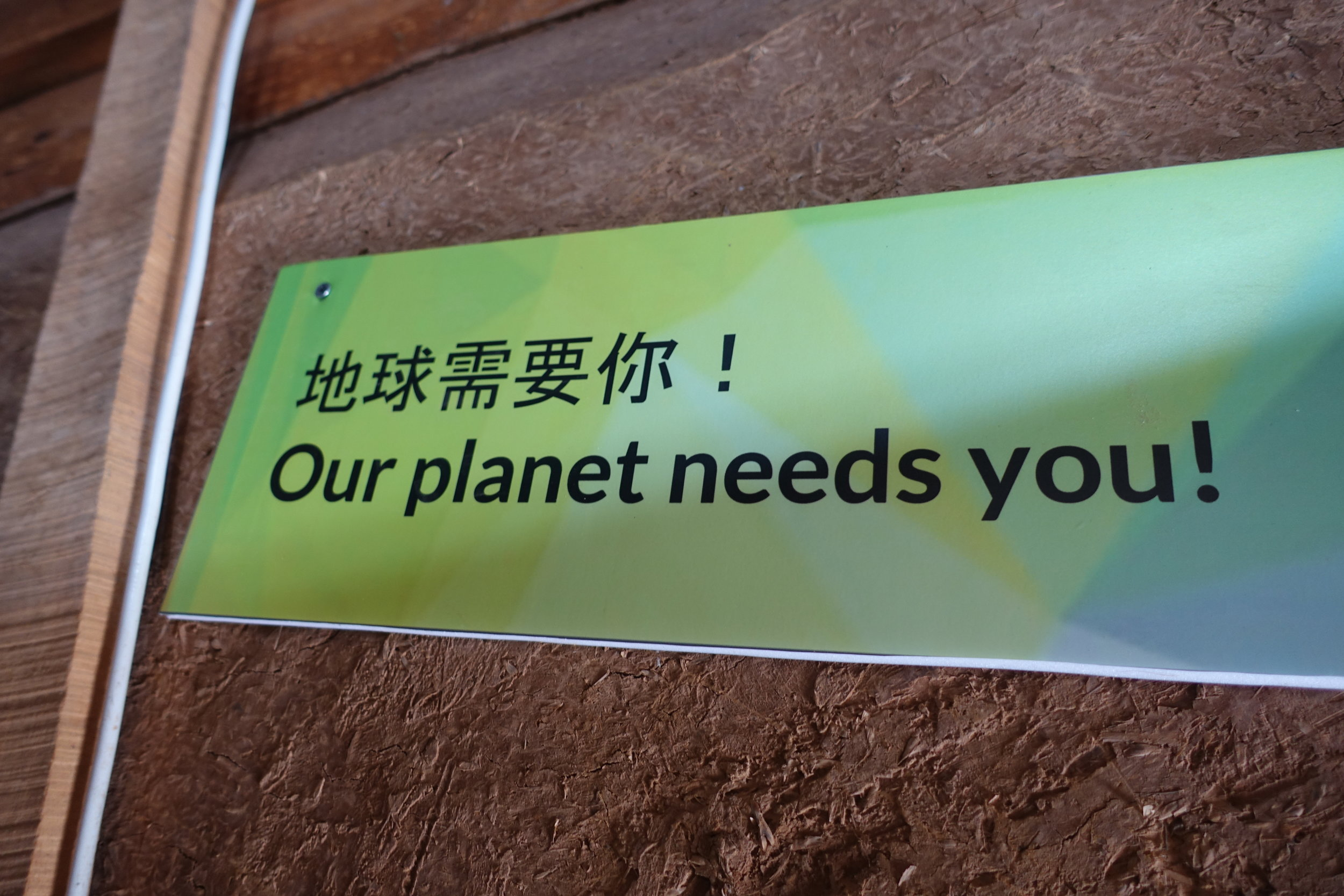 """Powerful calls to action (written and spoken) greet the visitors when they enter the """"environmental solutions"""" room"""