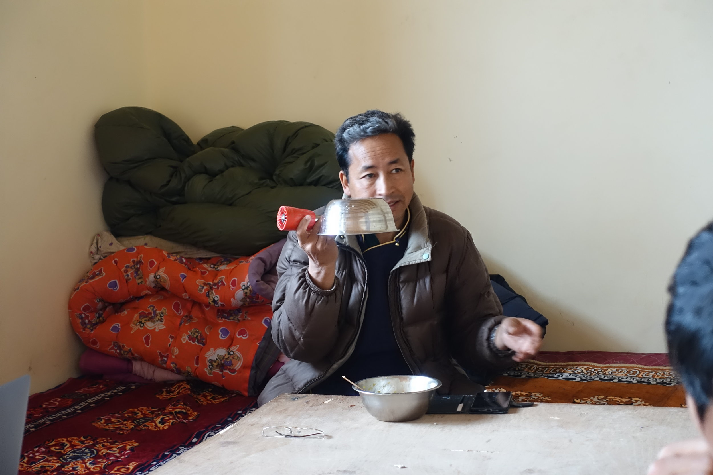 Sonam Wangchuk, comfortable as ever explaining fluid dynamics with used lunch dishes