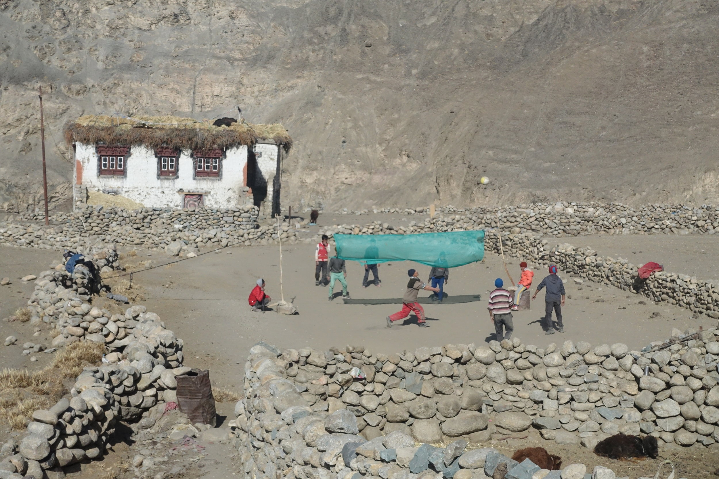 Outdoor games in the small village of Gya, which will host the forthcoming sustainability winter school