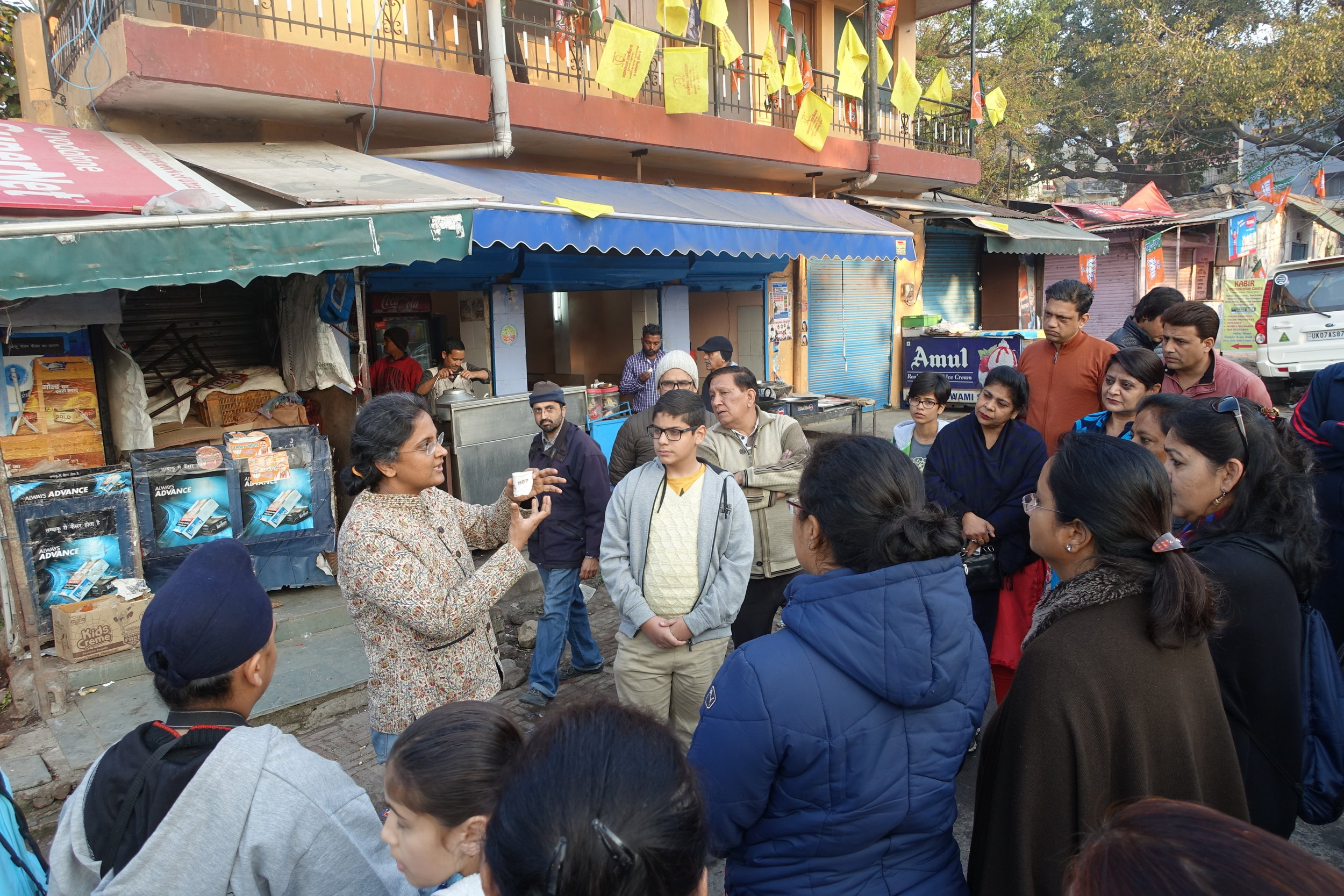 "Outdoor educational ""garbage walk"" led by Prof. Soumya Prasad, one of the founders of NSI."