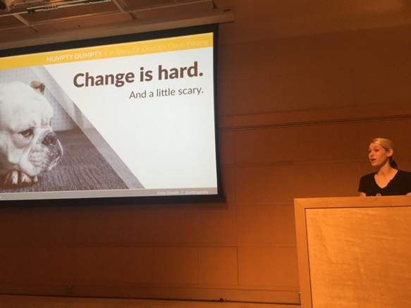 My third time giving my first talk, Humpty Dumpty: A Story of DevOps Gone Wrong, at DevOpsDays Madison.