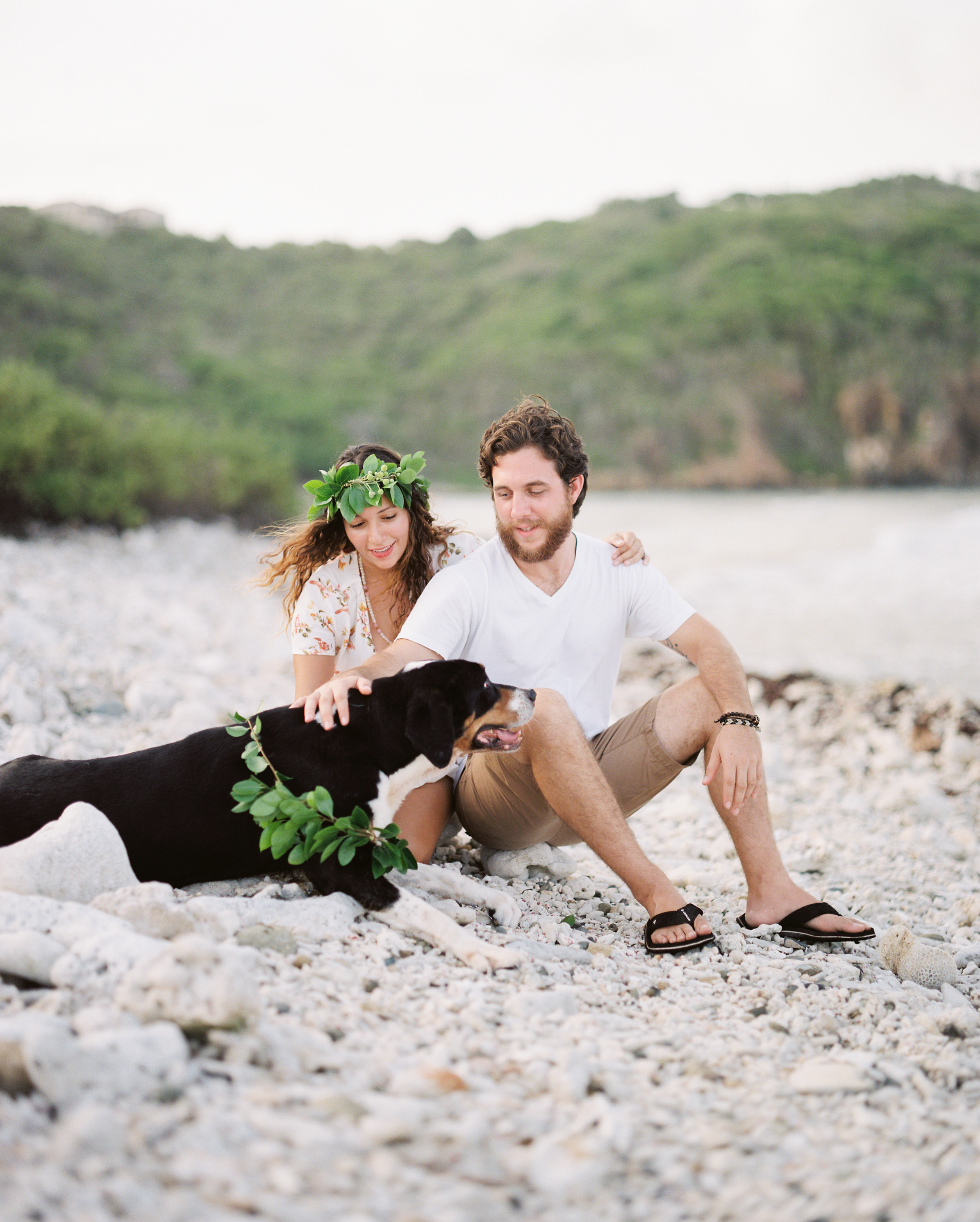 usvi water island, st. thomas tropical beach engagement photo