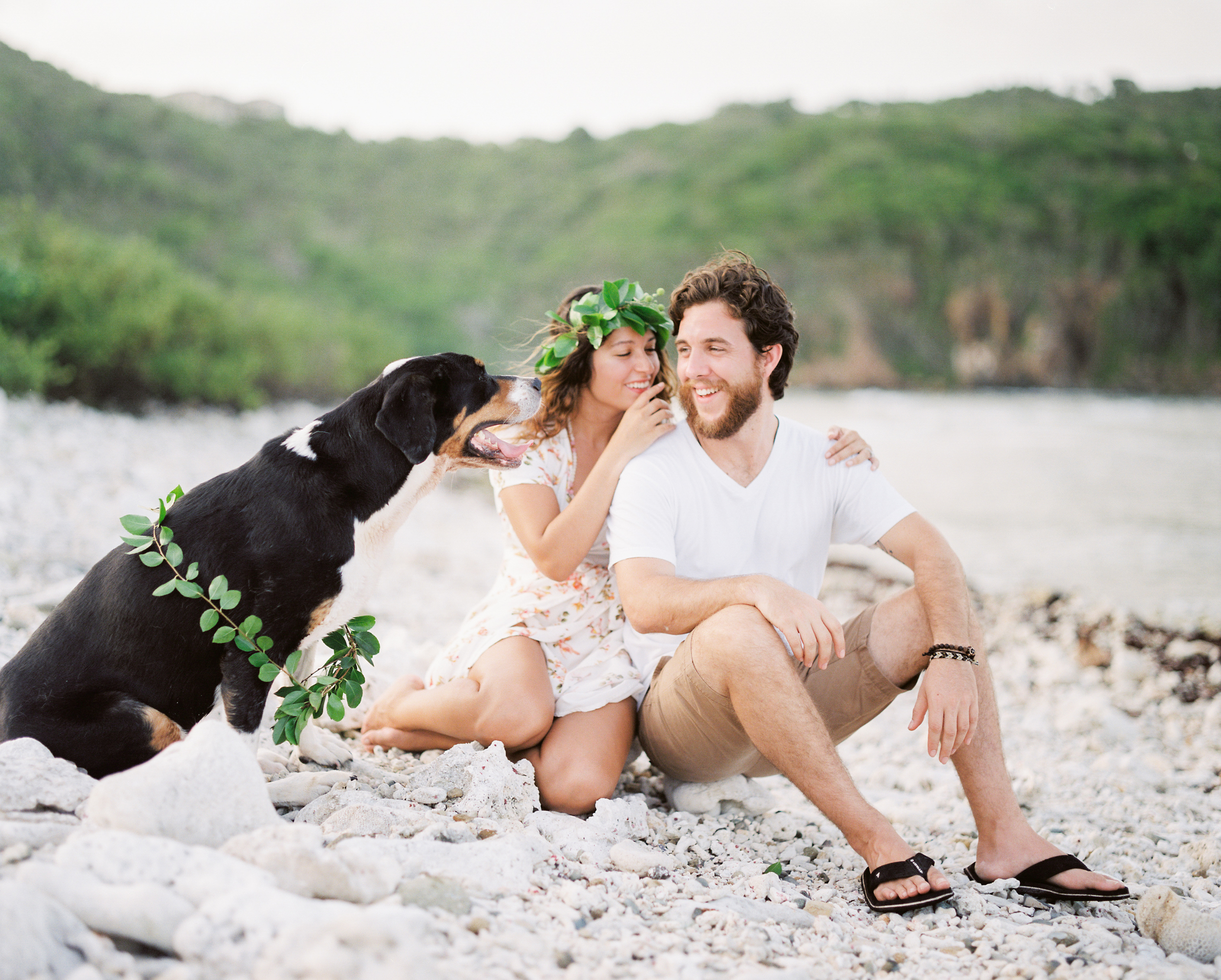 usvi st. thomas, water island tropical beach engagement photo