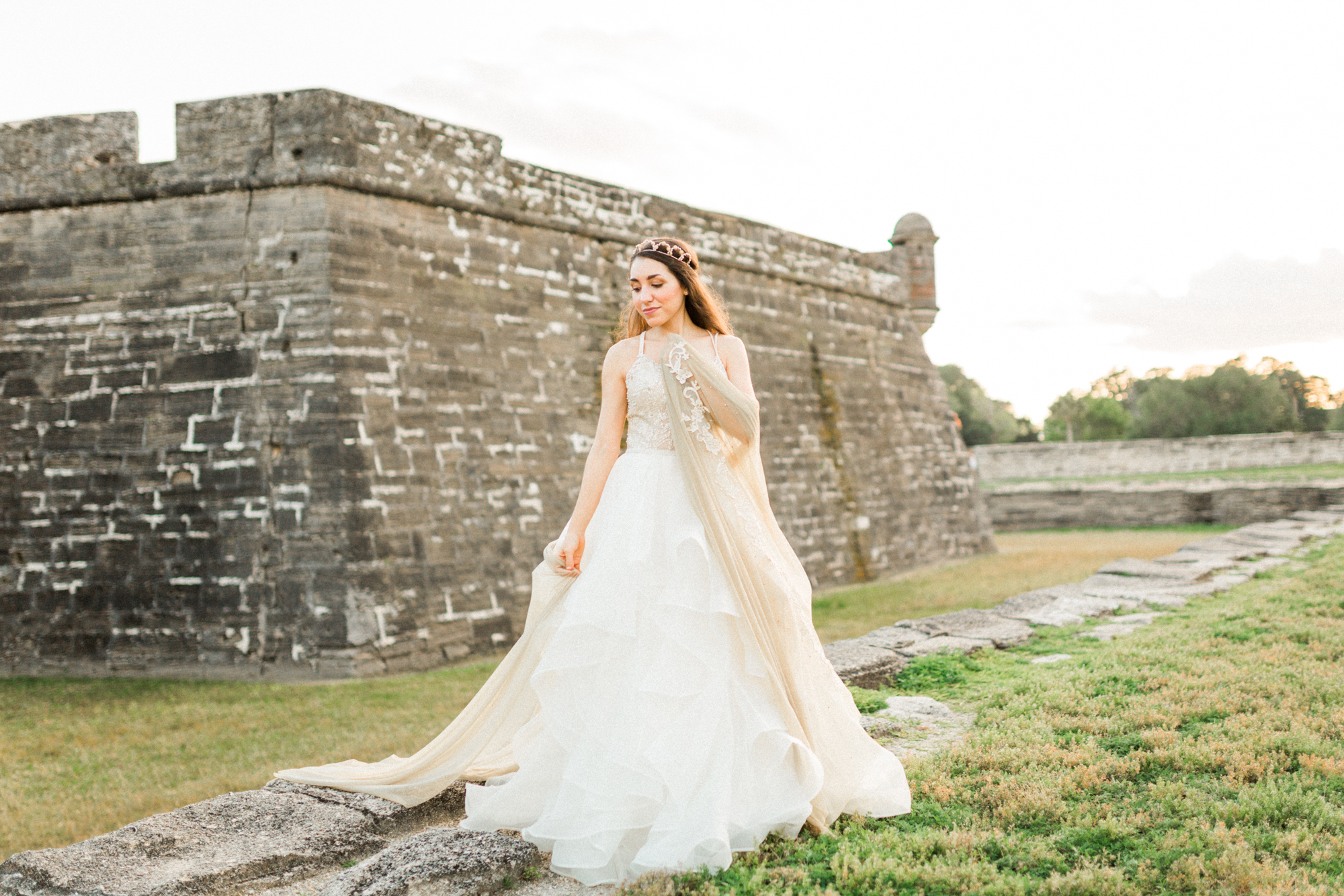 St. augustine, castillo de san marcos styled wedding bridal photo, wedding dress sunset castle
