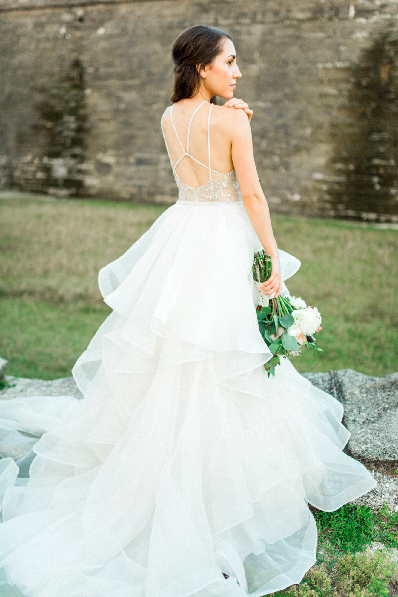 St. augustine, castillo de san marcos styled wedding bridal photo, wedding dress