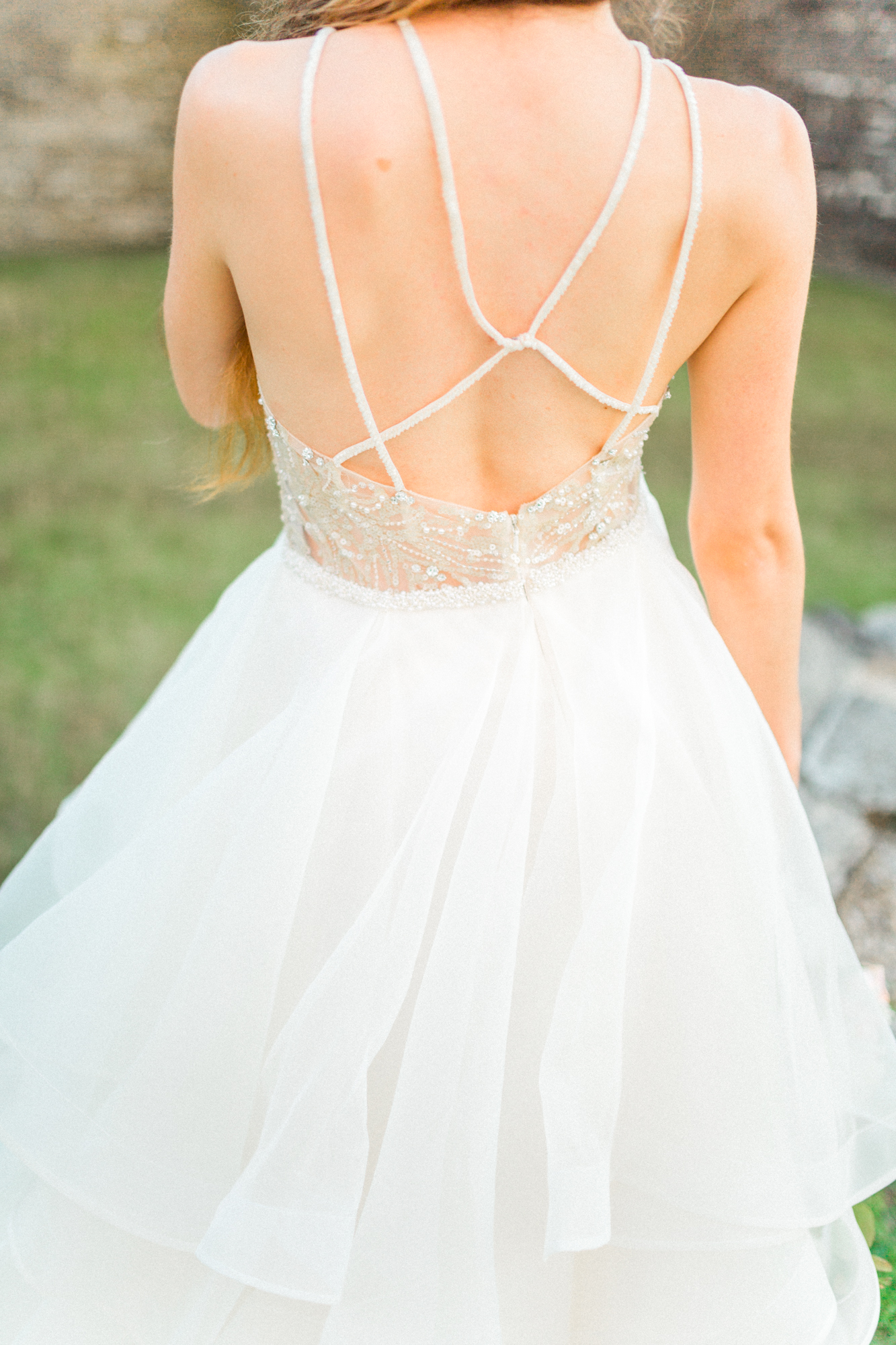 St. augustine, castillo de san marcos styled wedding bridal photo, back of wedding dress