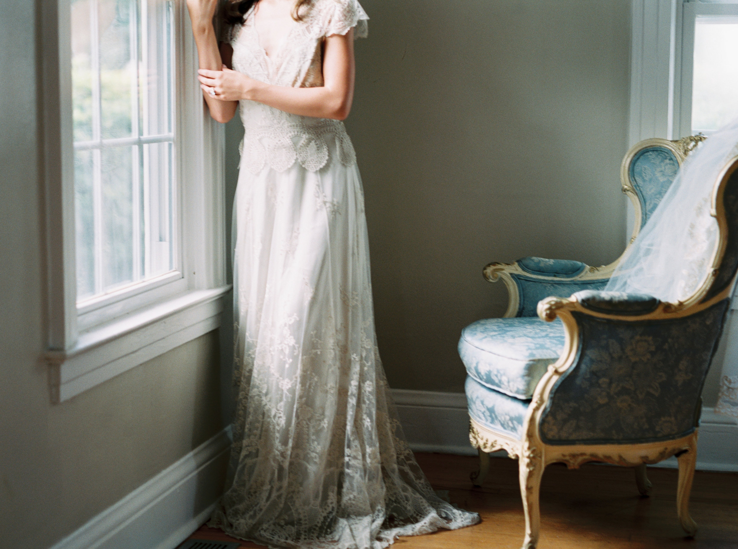 the cypress grove estate house in orlando florida, styled wedding bridal photo in lace dress