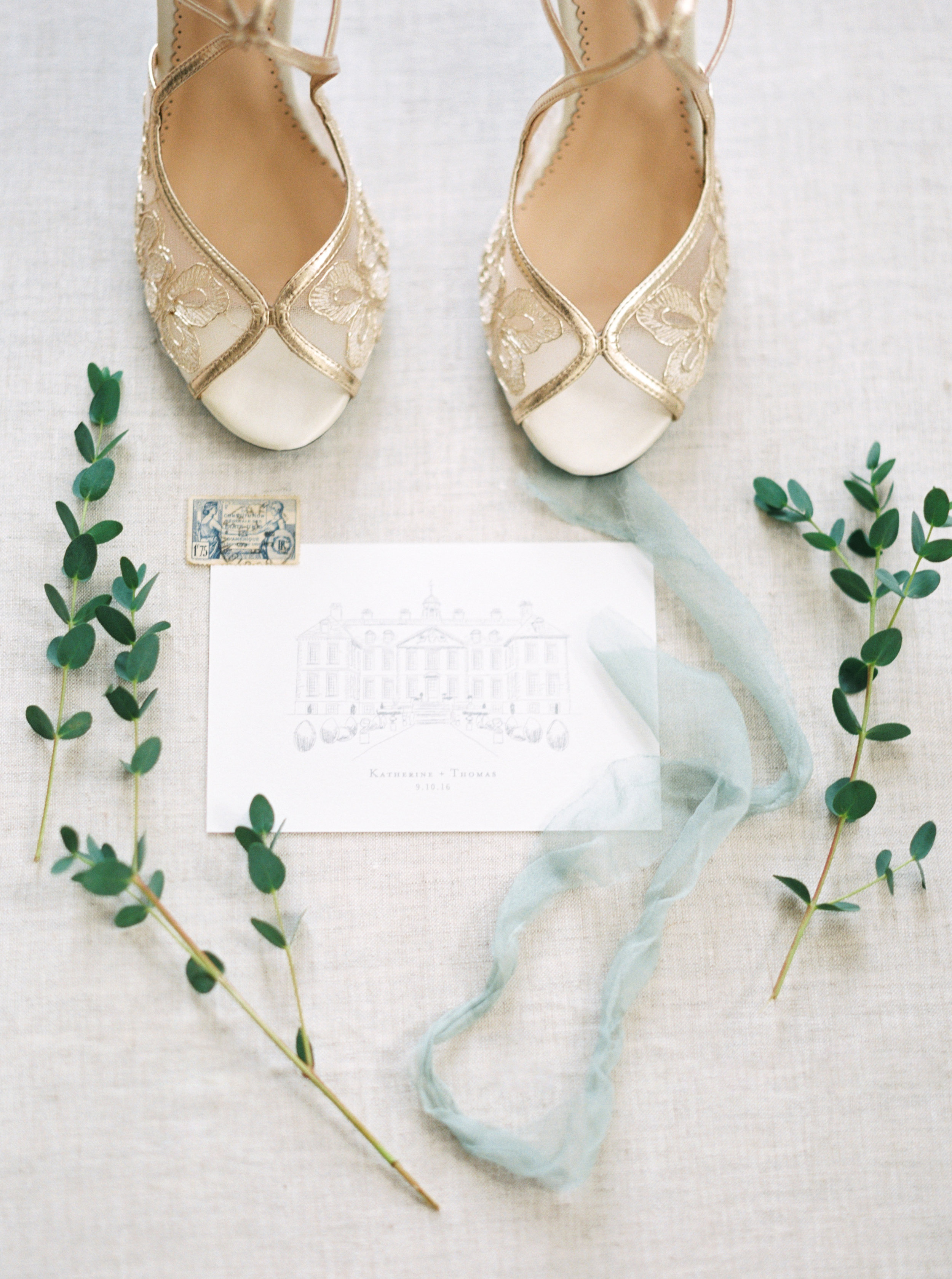 the cypress grove estate house in orlando florida, styled wedding bridal photo, brides shoes, invitation detail shot
