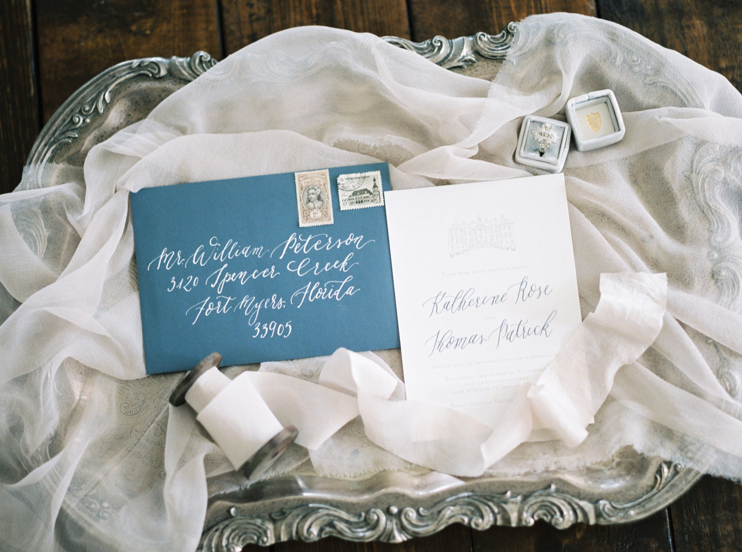 the cypress grove estate house in orlando florida, styled wedding invitation suite calligraphy