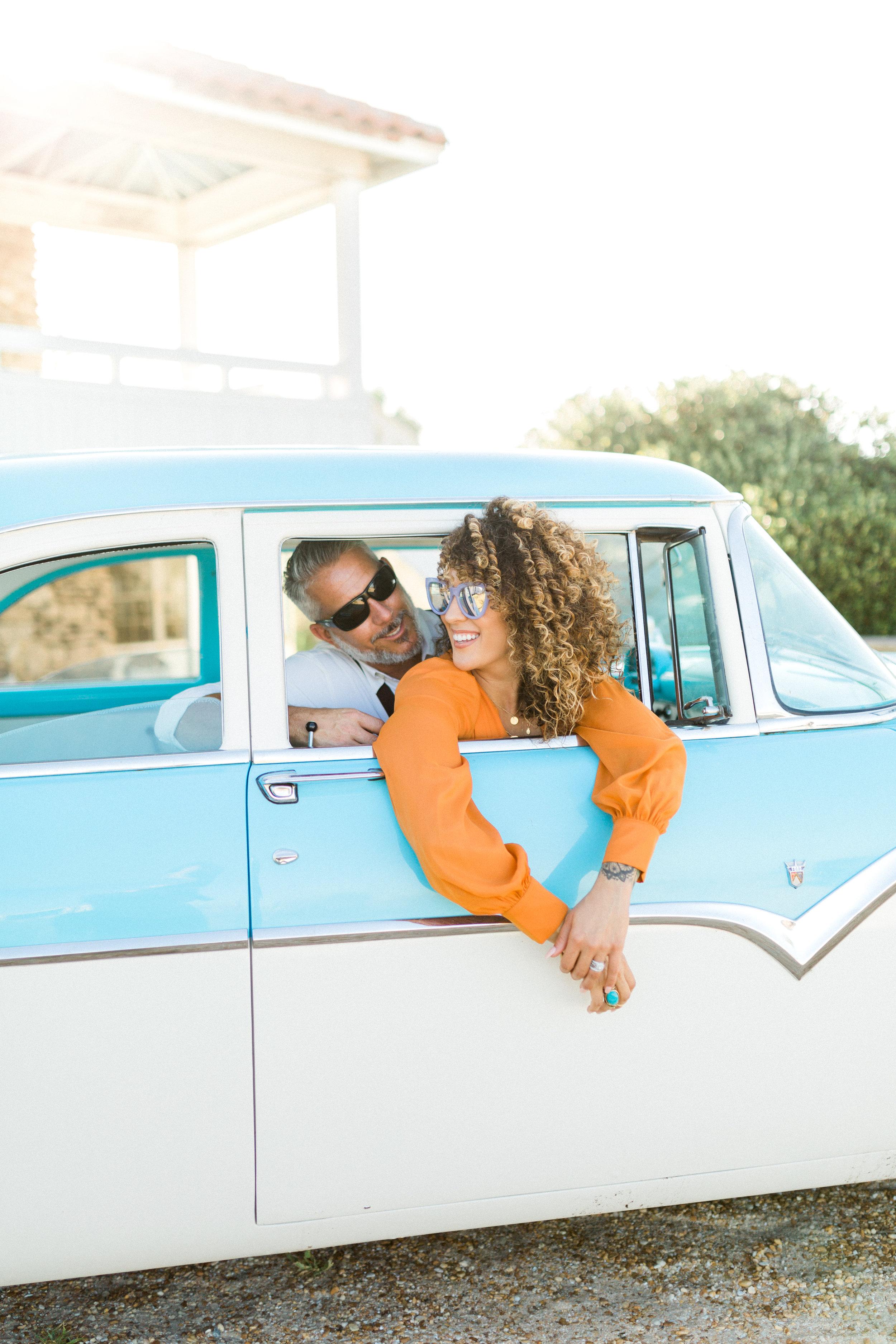St. Augustine Beach A1A Anniversary Photos vintage blue car