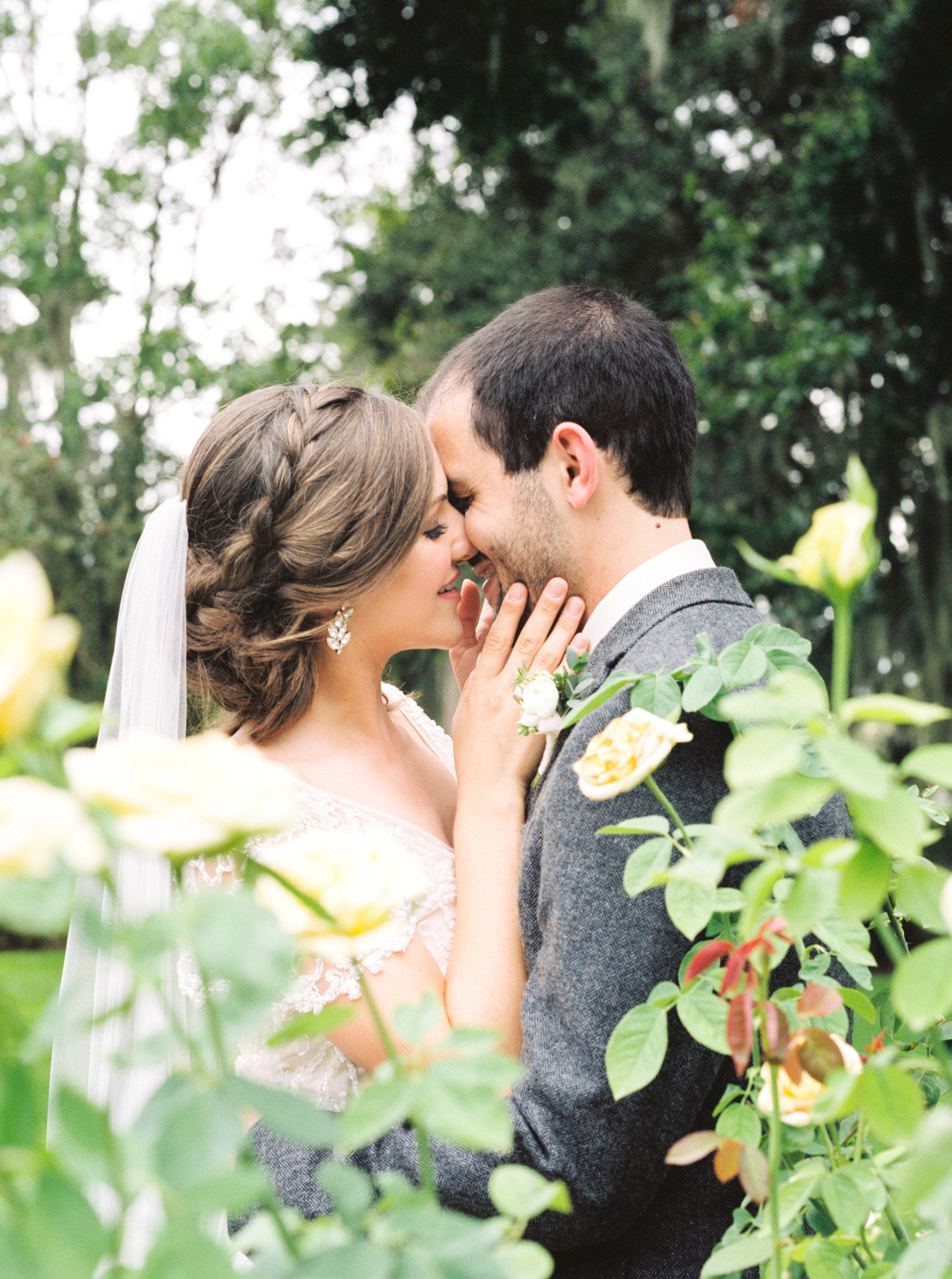 cypress grove estate house, orlando florida wedding photo shoot, bride and groom in rose garden