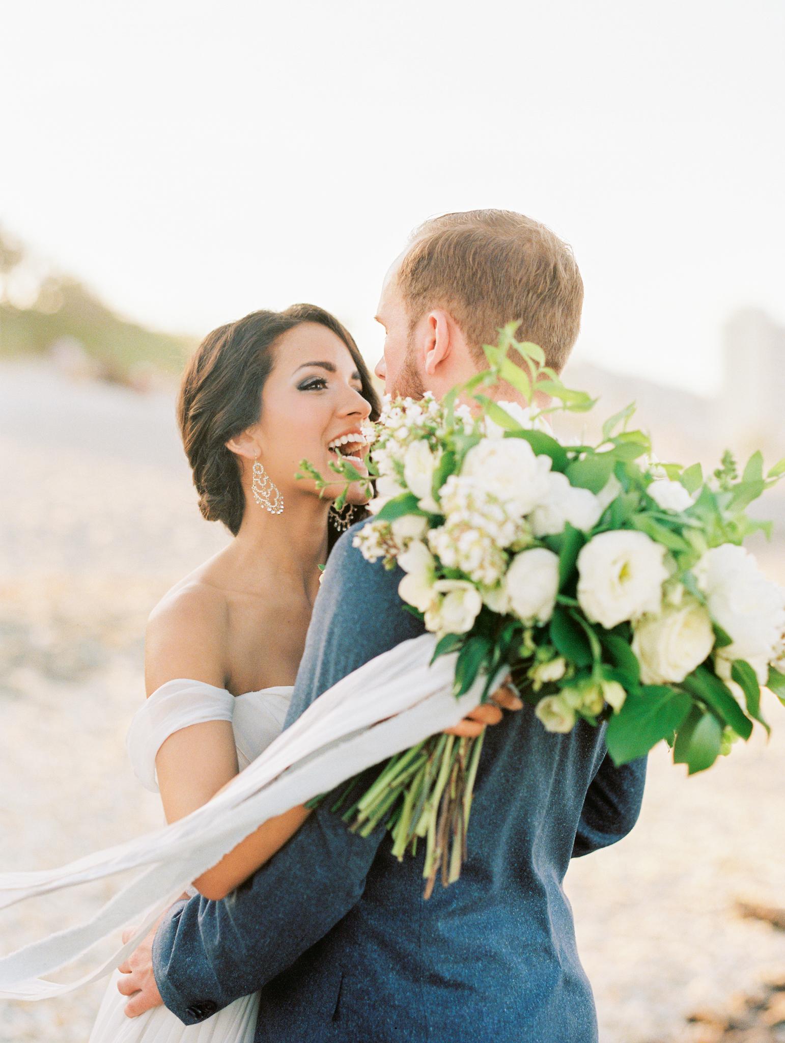 coral cove, jupiter beach FL, palm beach wedding photos, bride on beach photo