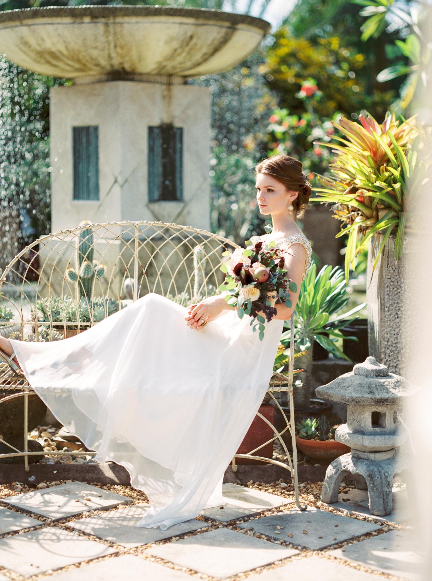 valkaria gardens palm bay FL bride in garden wedding photos