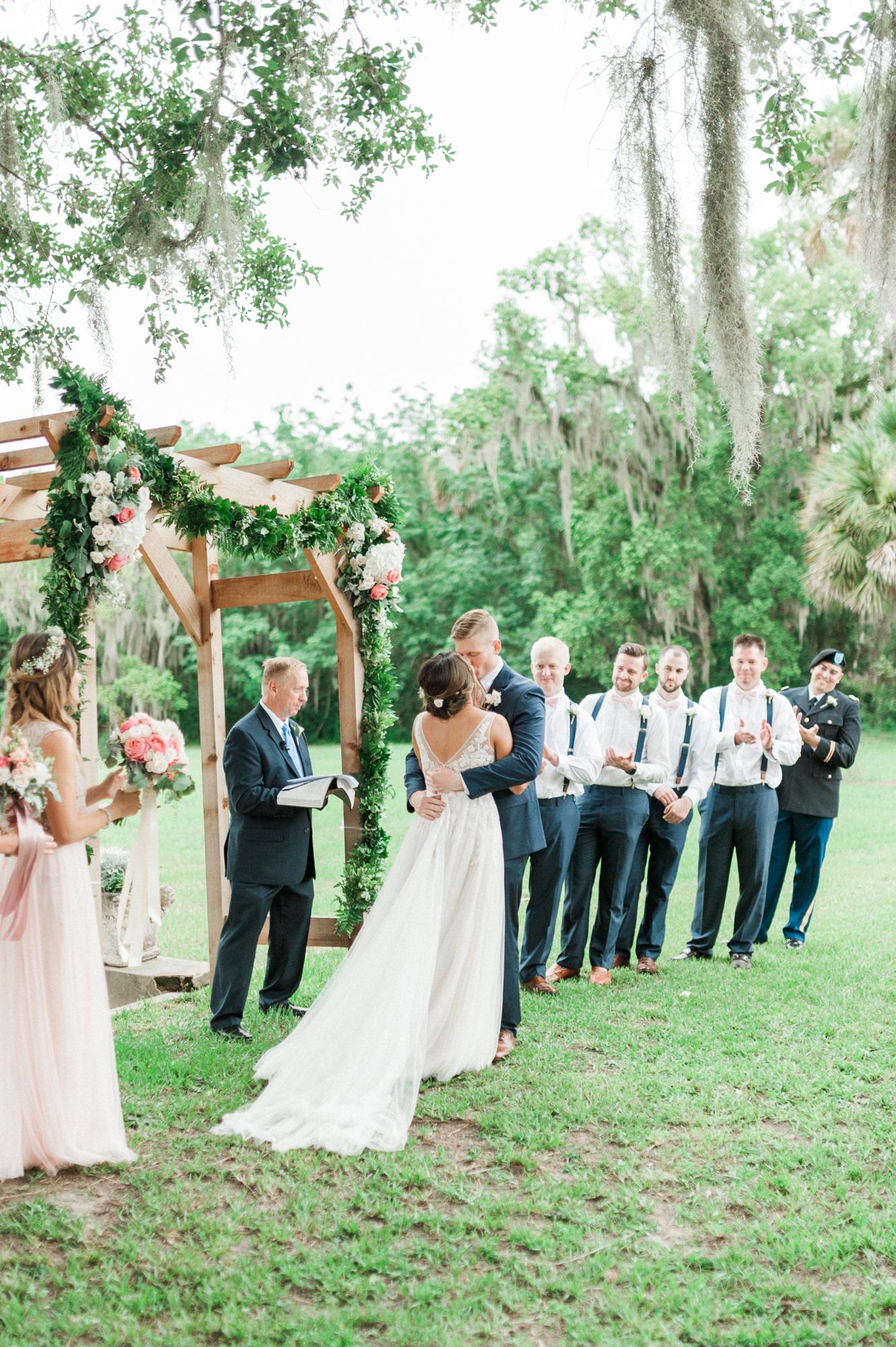 sydonie mansion mount dora orlando fl wedding photos ceremony kiss