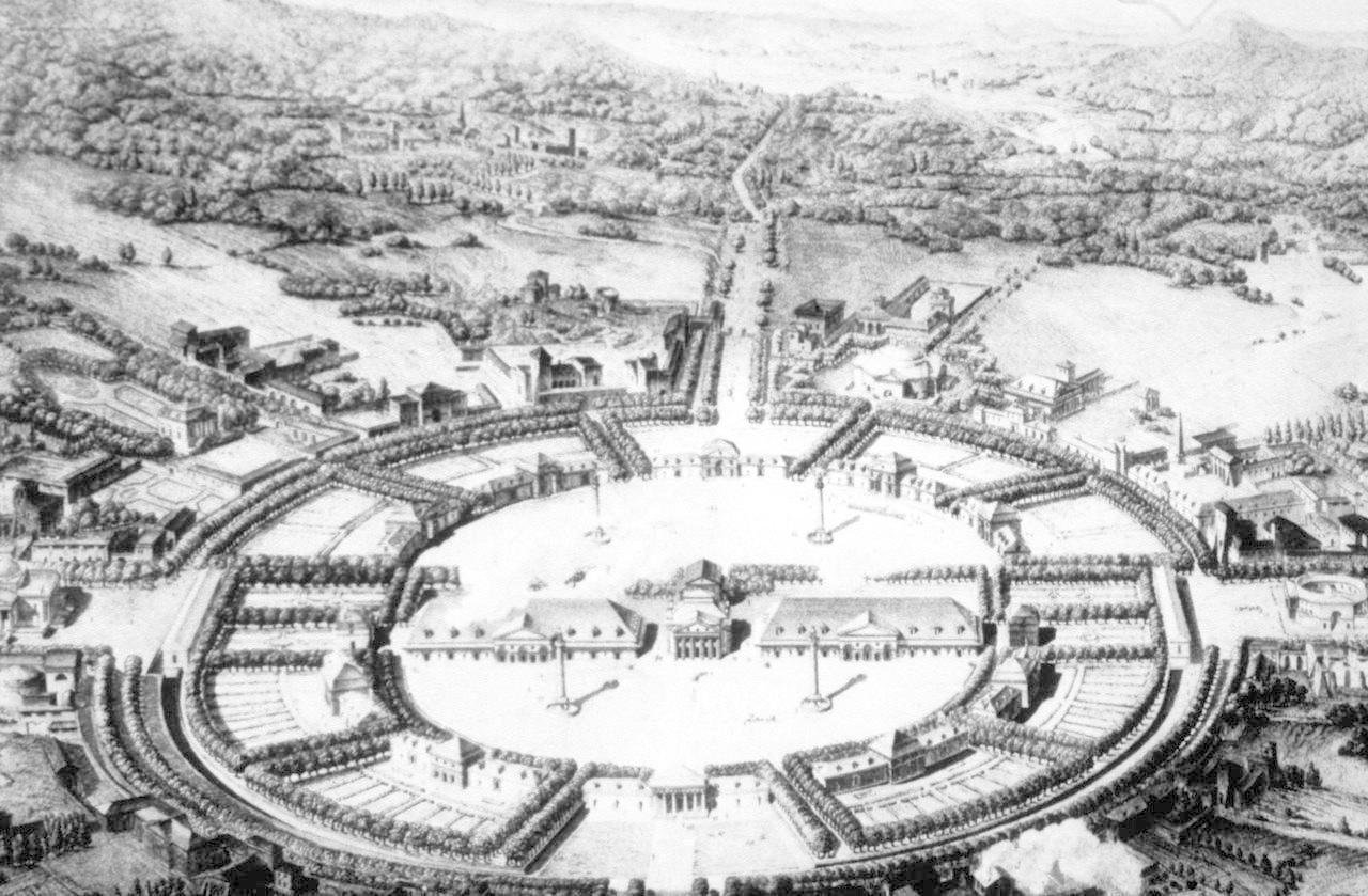 Claude Nicholas Ledoux -idealized plan for a city -partially realized