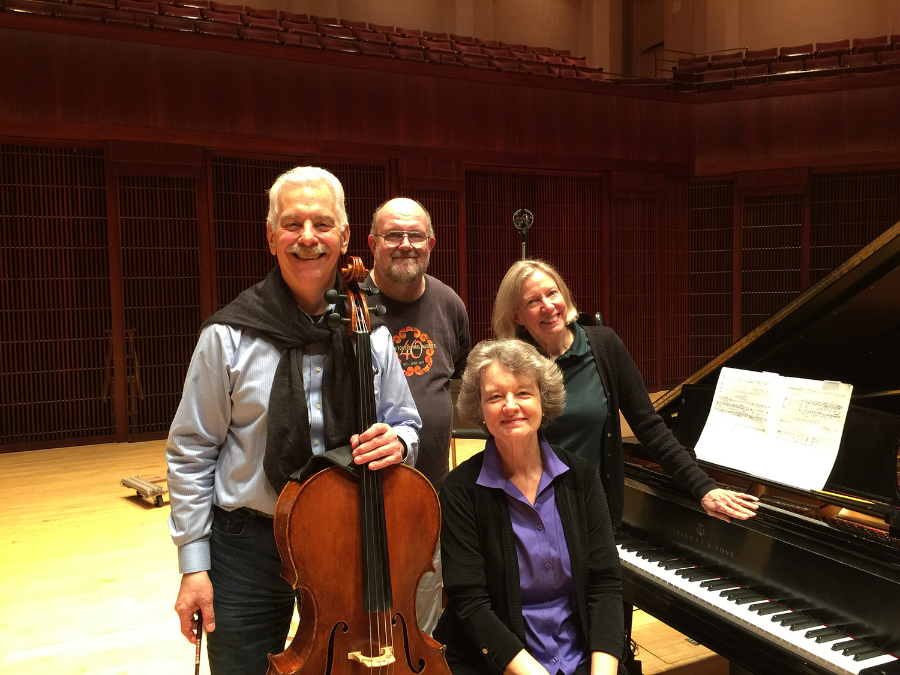 """The Fischer Duo recording John Harbison's """"Abu Ghraib""""with producer Judith Sherman and engineer Andy Bradley (2015)"""
