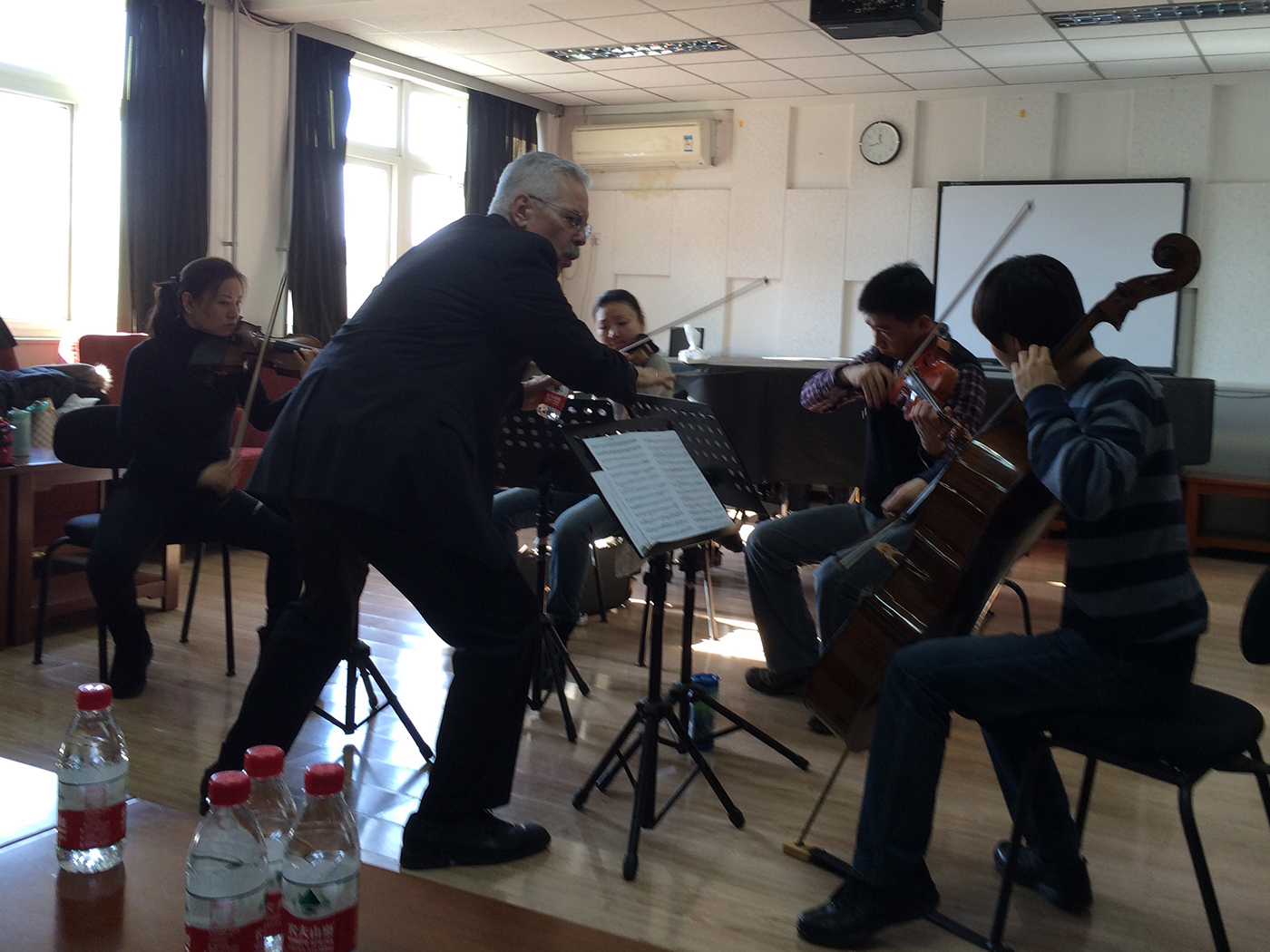 Beijing Residency, 2014   Norman Fischer coaching student chamber music group at China Conservatory in Beijing, 2014