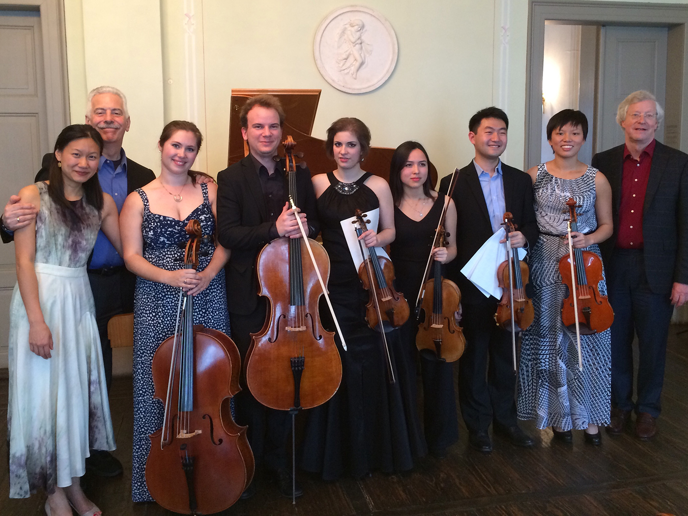 Shepherd School of Music/Leipzig exchange, 2015    Norman Fischer with Shepherd School students and Leipzig Hochscule students after their concert together at Felix Mendelssohn's house