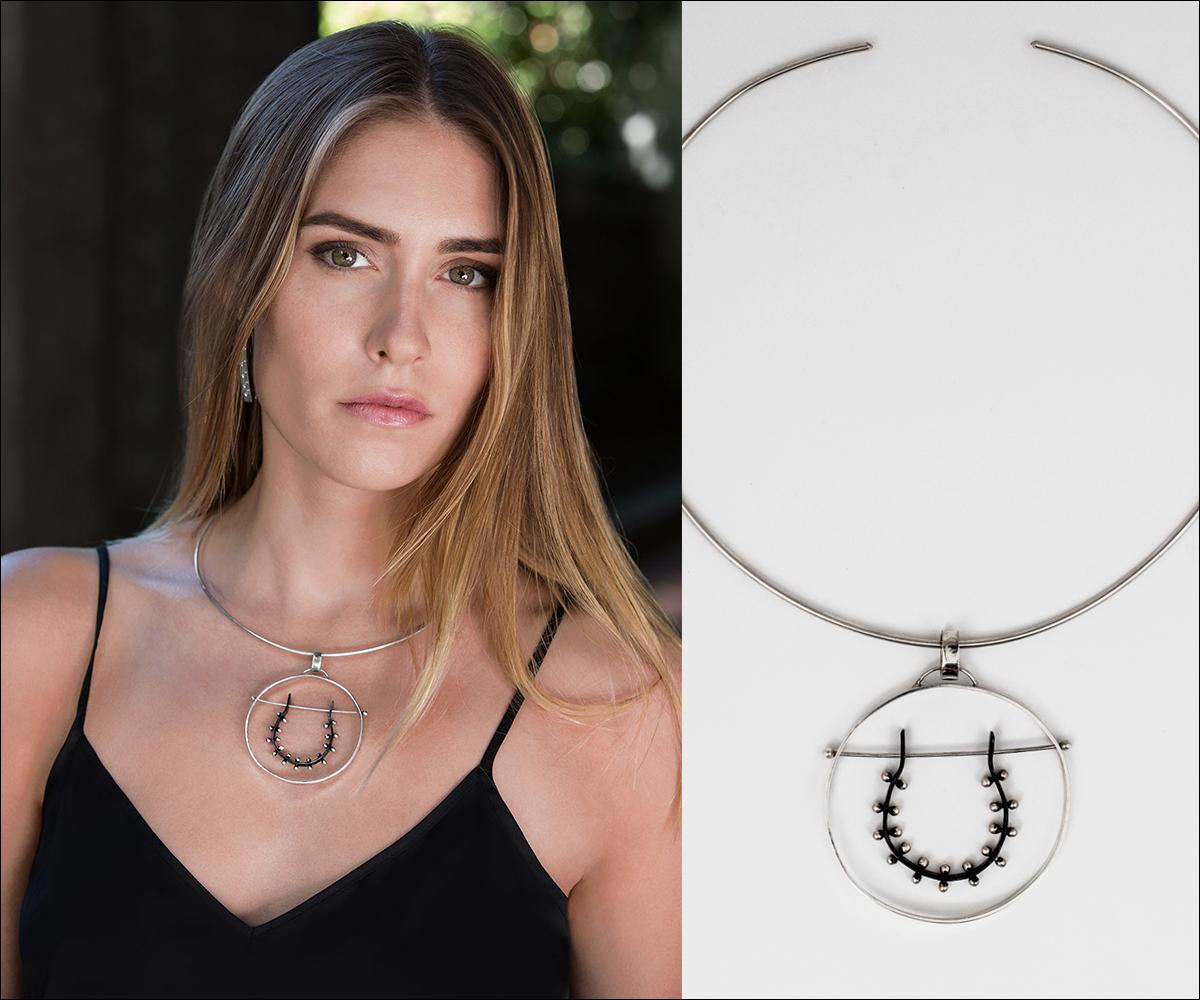 Sterling Silver Moonscape Horseshoe Pendant Necklace by Elke Van Dyke Design. www.ElkeVanDyke.com