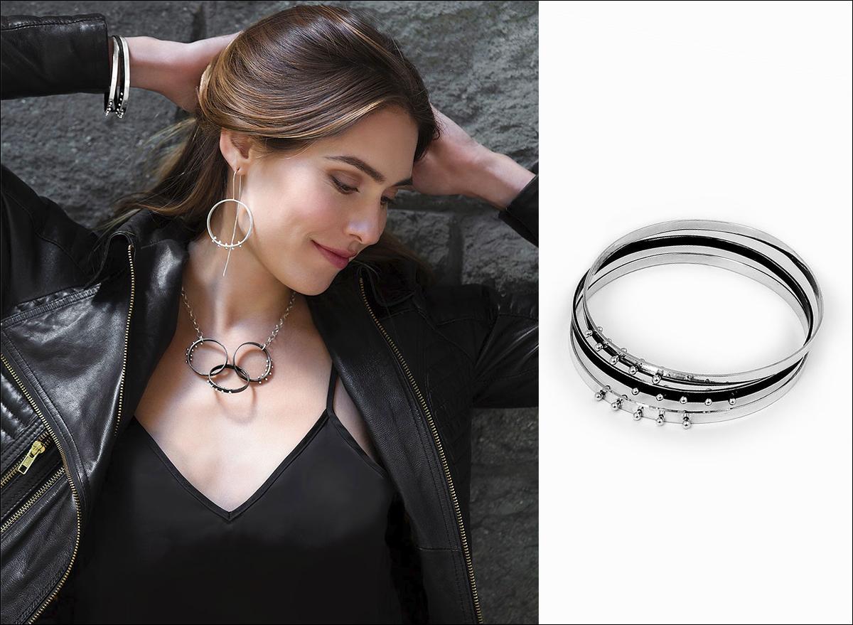 Black Oxidized & High Polish Sterling Silver Moonscape Bangle Bracelets by Elke Van Dyke Design. www.ElkeVanDyke.com