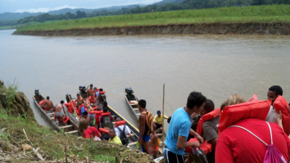 My team and I returning from a ride in the traditional canoes of Panama.