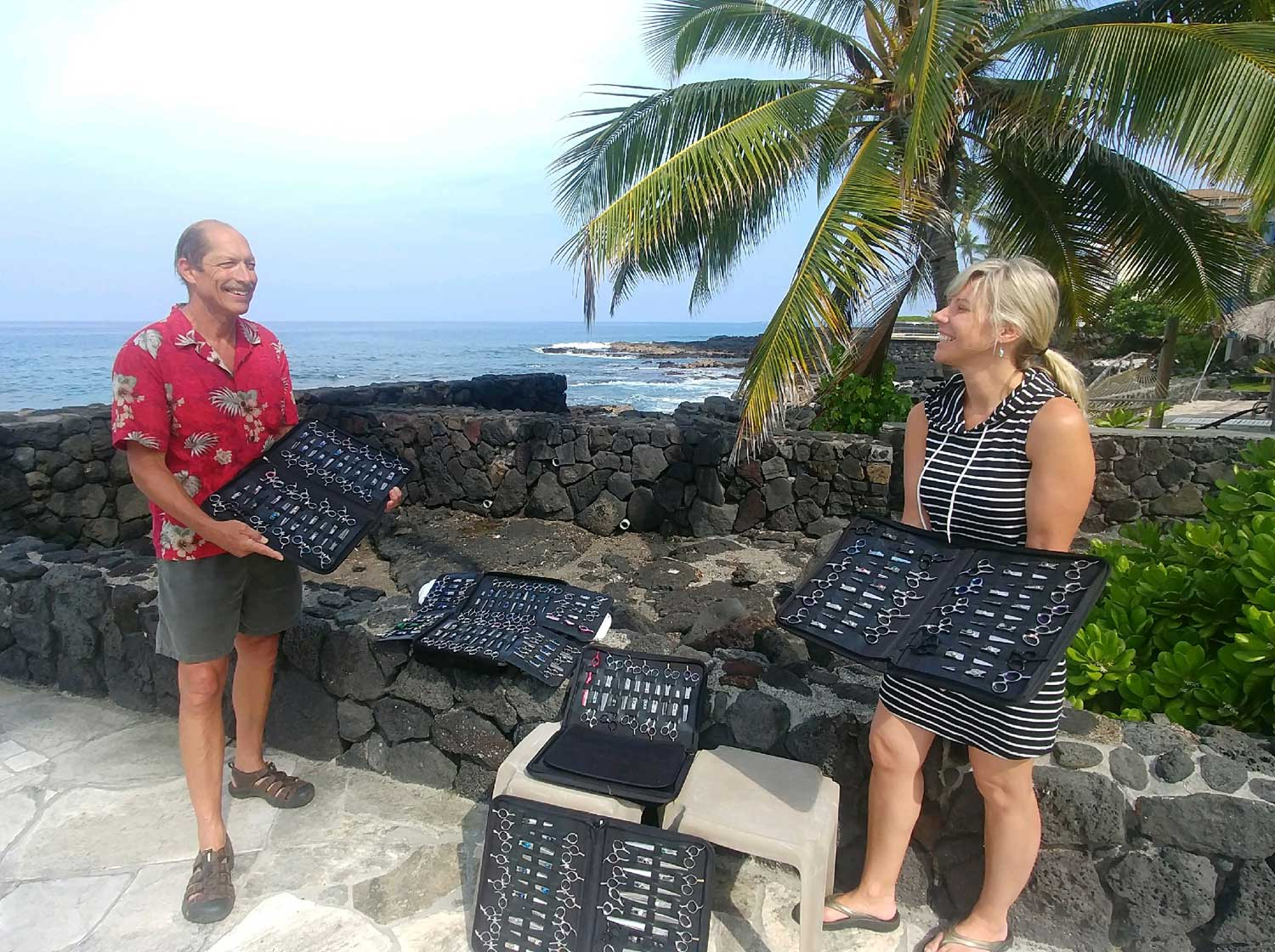 Kona Tiki Hotel manager welcomes Terry to Hawaii for another successful business trip.
