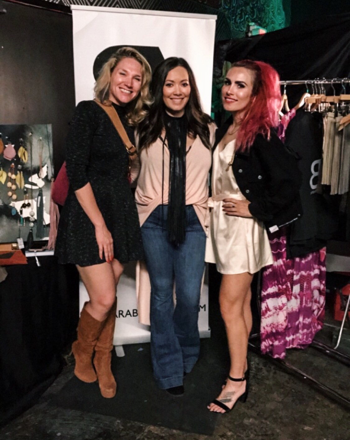 Photo from the Night Market with  (from left to right)  local designers, Barbara Bultman and Elise Kristine