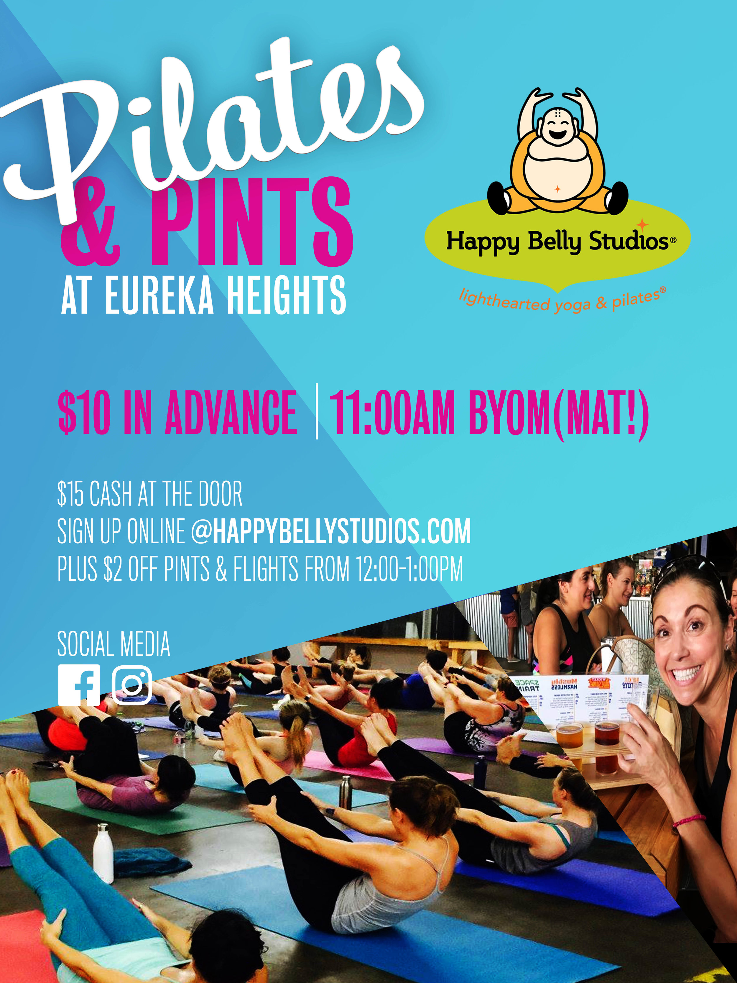 Pilates & Pints at Eureka Heights - Join us Saturday, Nov 9 at 11:00AM for our seasonal Pilates & Pints! Grab your mat and drinking buddy and head to Eureka Heights Brew Co for a Pilates mat class followed by $2 off pints and flights from 12:00-1:00PM. Sign up now to reserve your spot!$10 in advance; $15 CASH at the door. **We reserve the right to cancel this event due to low attendance.FIRST CLASS IS FREE WITH PROMO CODE WELOVEBEER