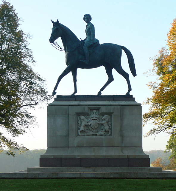 Equestrian Sculpture of HM The Queen at The Great Park, Windsor. The piece was commissioned to celebrate Her Majesty's Golden Jubilee