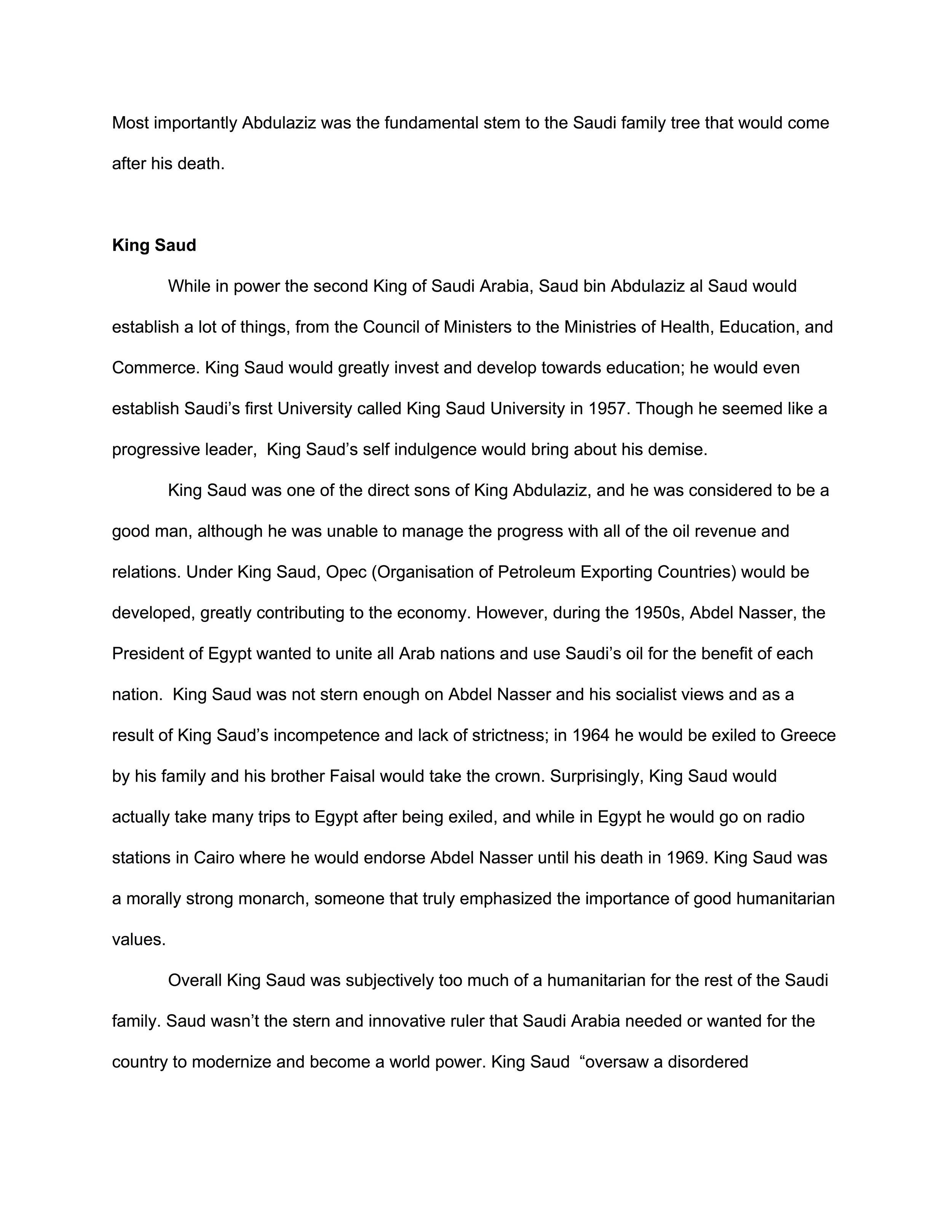 Essay on Saudi Kings, Chris Matta '19