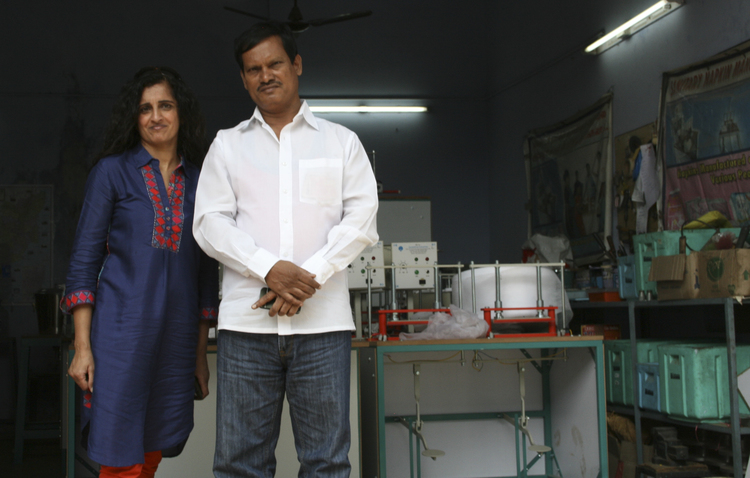 "Binti CEO Manjit Gill meets with Arunachalam Muruganantham, ""The Menstruation Man."" Sanitary napkins produced in a ""Small is Beautiful"" model can deliver livelihood, hygiene, and dignity to poor women, and help them strengthen society."
