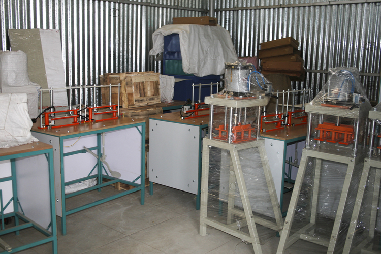 These units produce 200 packets of low-cost sanitary towels daily.