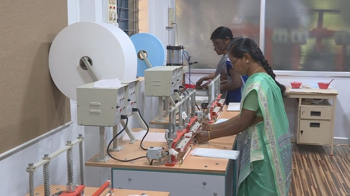 Women use the machines to create sanitary products.Credit: ITV News