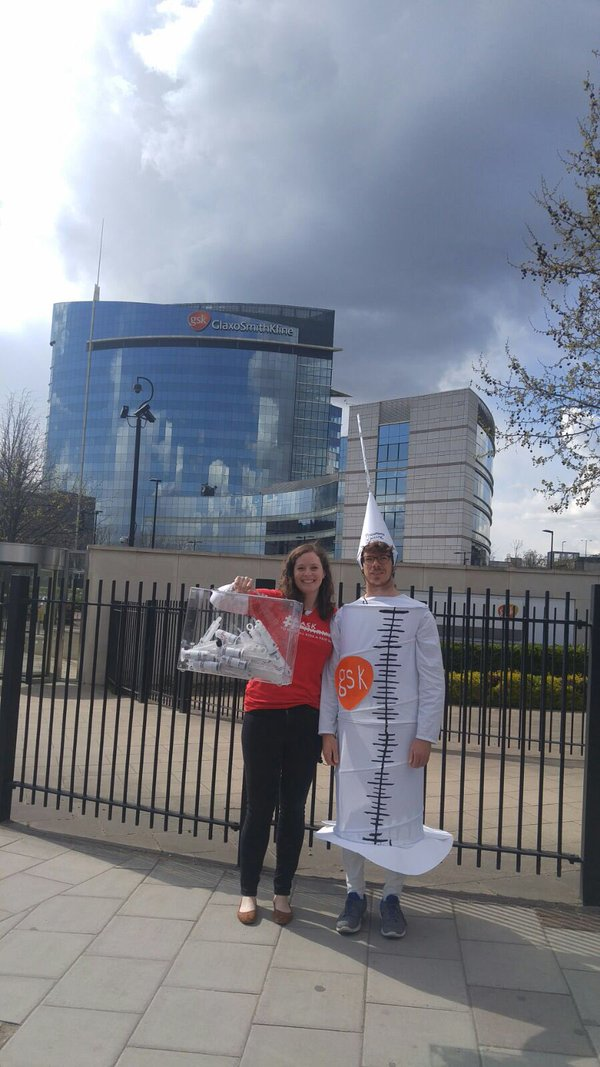 Doctors Without Borders delivers petition signatures to GSK in London.