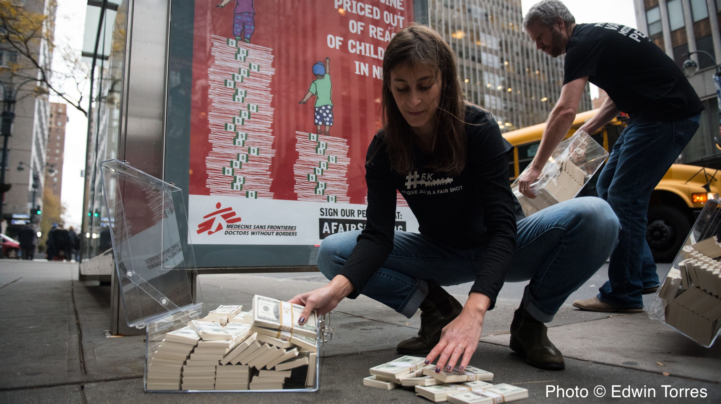 Doctors Without Borders delivers $17M of fake cash to Pfizer HQ on World Pneumonia Day to illustrate the amount they make each day off the vaccine alone.