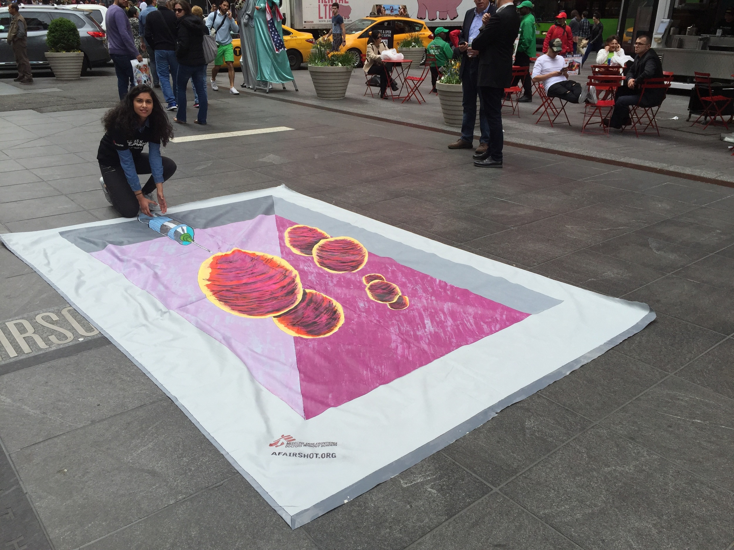 New Yorkers join the fight against pneumonia in Times Square. 3D artwork by Anthony Capetto/ Art for After Hours