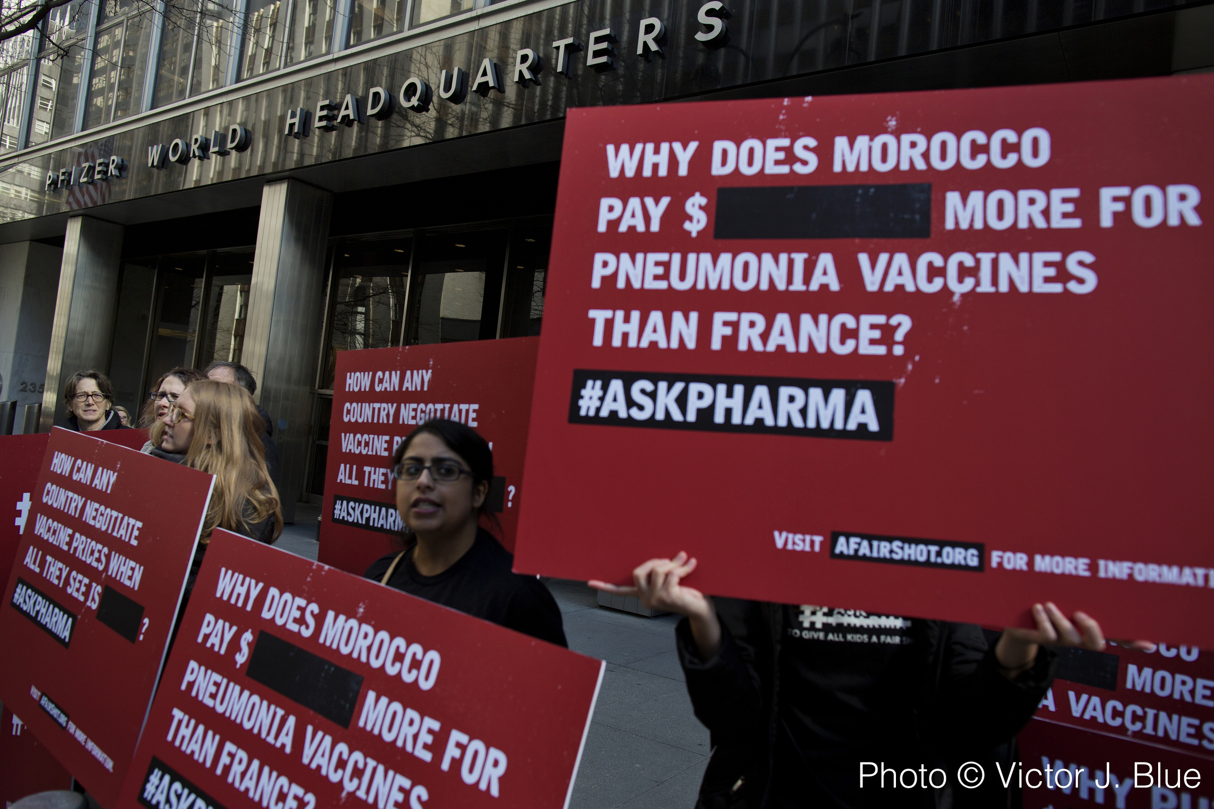 Activists from Doctors Without Borders protest vaccine pricing policies in front of the Pfizer World Headquarters in New York NY,  Thursday, April 22, 2015. Pfizer refuses to publish the price of the pnuemococcal vaccine, preventing developing countries from negotiating a fair price for the drug.