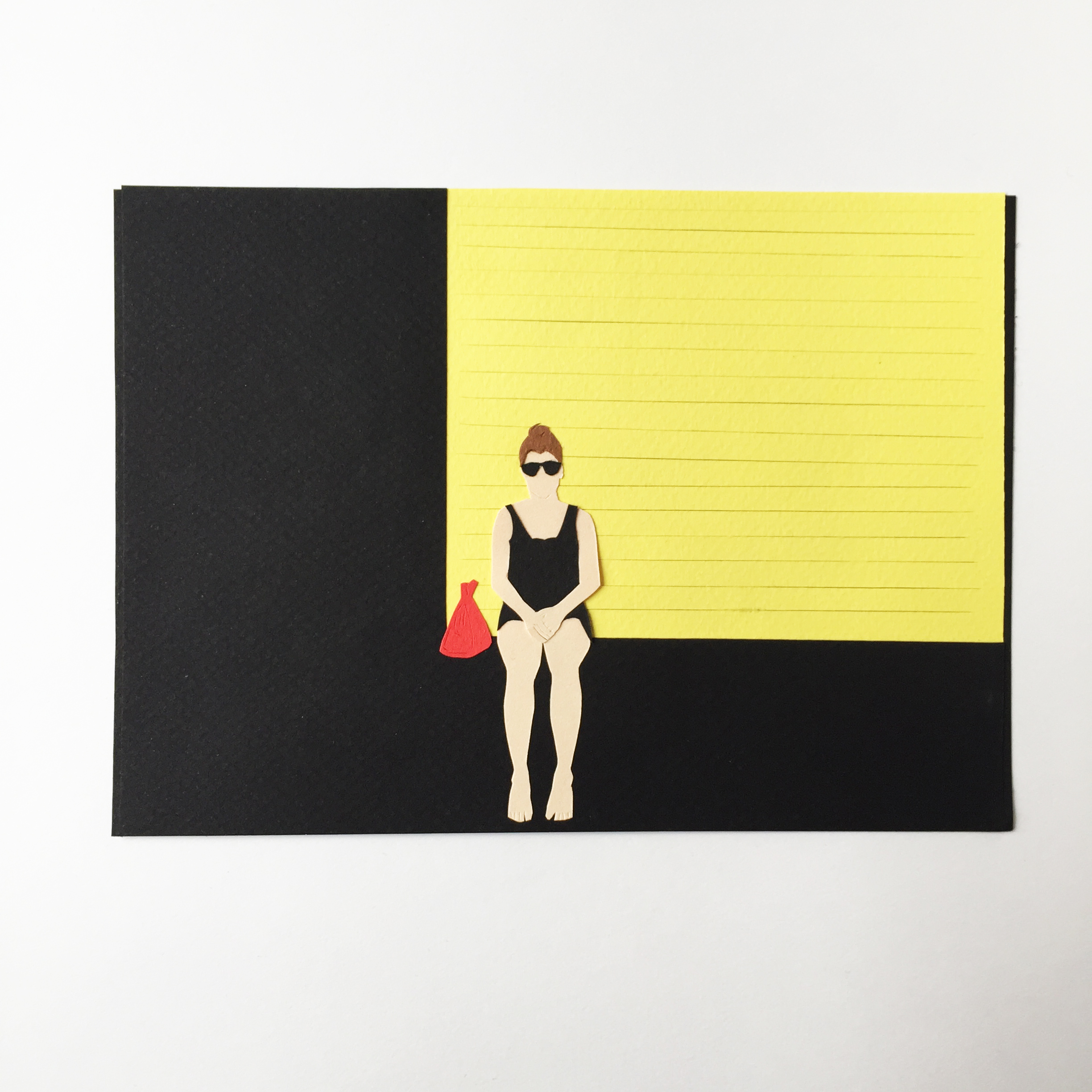 Paper Portrait Girl Sitting with Red Purse by Kate Zaremba 2015.jpg