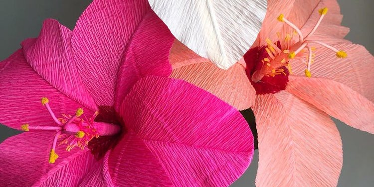 The Art Of Crepe Paper Flower Making Hibiscus The Lemon Collective