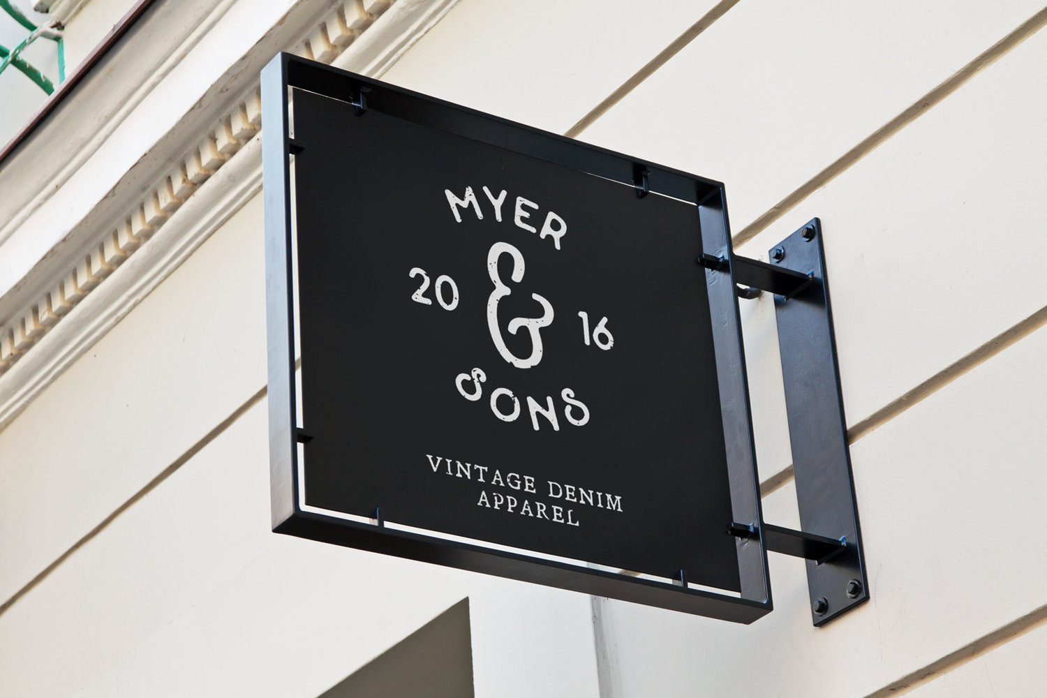 Signage for Myer and Sons vintage denim apparel