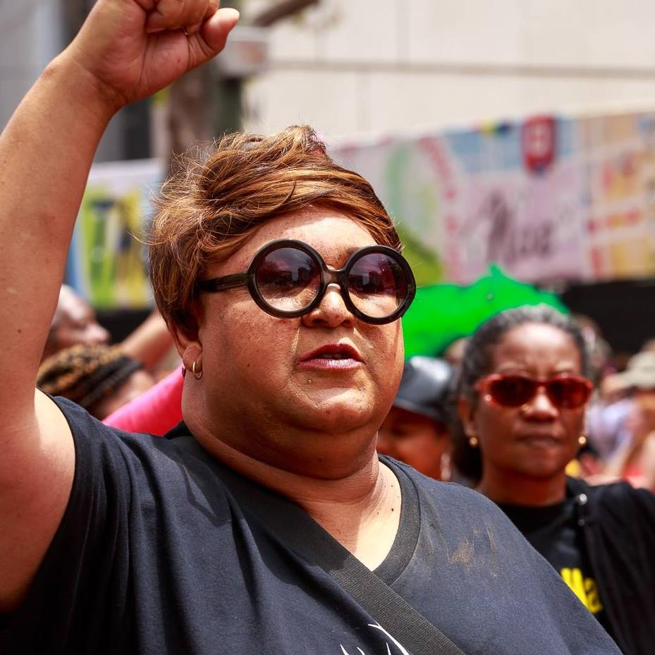Longtime member-leader of Transgender, Gender Variant, and Intersex Justice Project, Gail Spencer at the 2015 SF PRIDE Parade as part of the Black Lives Matter contingent.