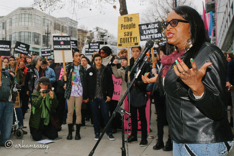 Executive Director of TGIJP, Janetta Johnson speaking to crowd at a Queers for Black Lives Matter action. Photo by Arkansassy.