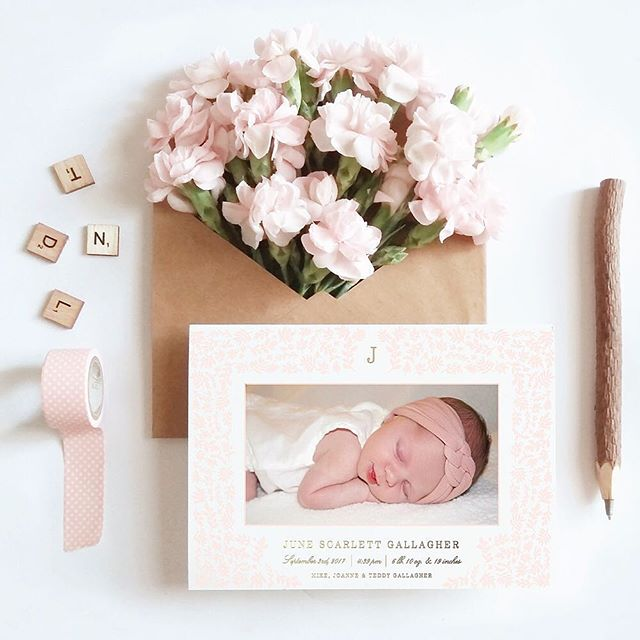 Nothing makes me smile more than this adorable birth announcement for one of our most precious clients, June Scarlett! Want to share the news of your special arrival? Our birth announcements are foil stamped and digitally printed on luxe cotton stock and available now in our shop! Link in profile! xo #babygirl #birthannouncement #droletpaperie #goldfoil #blush #letterpress #floralbirthannouncement