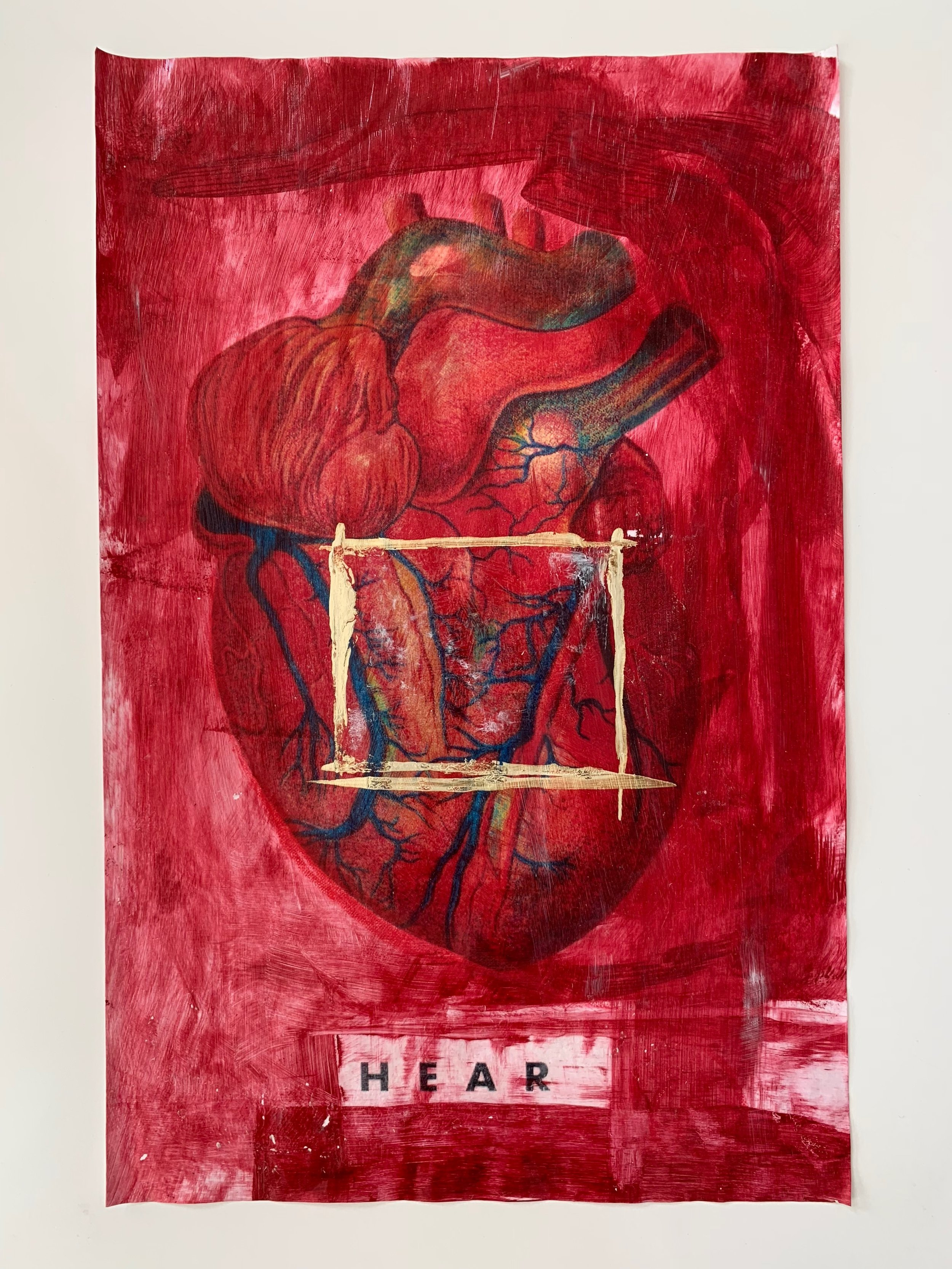 """- Hear with the Heart. #1Archival pigment print on 100% archival paperPrints signed dated numbered by Catherine JustHear with the Heart. Trust It. Trust yourself.8.5 x 11"""" $200 holiday price $100 purchase HERE.11 x 17"""" $300 holiday price $200 purchase HERE.Larger sizes available. Please inquire.Limited edition of 15.Love Bomb pricing available through Friday, November 25th.Details: This is an archival pigment print of an original mixed media painting. If you are interested in the original please email me for details.shipping is $12.00"""