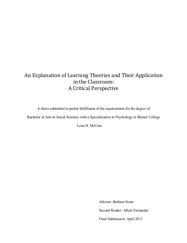 Undergraduate Thesis |  An Explanation of Learning Theories and Their Application in the Classroom:
