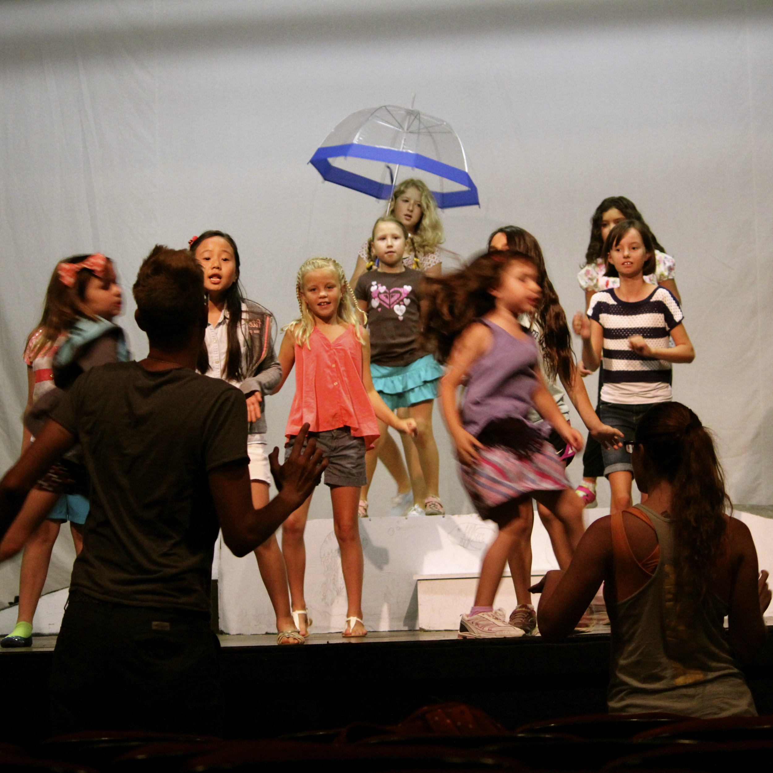 """Rehearsing """"Under the Sea"""" from last year's   Little Mermaid, Jr."""