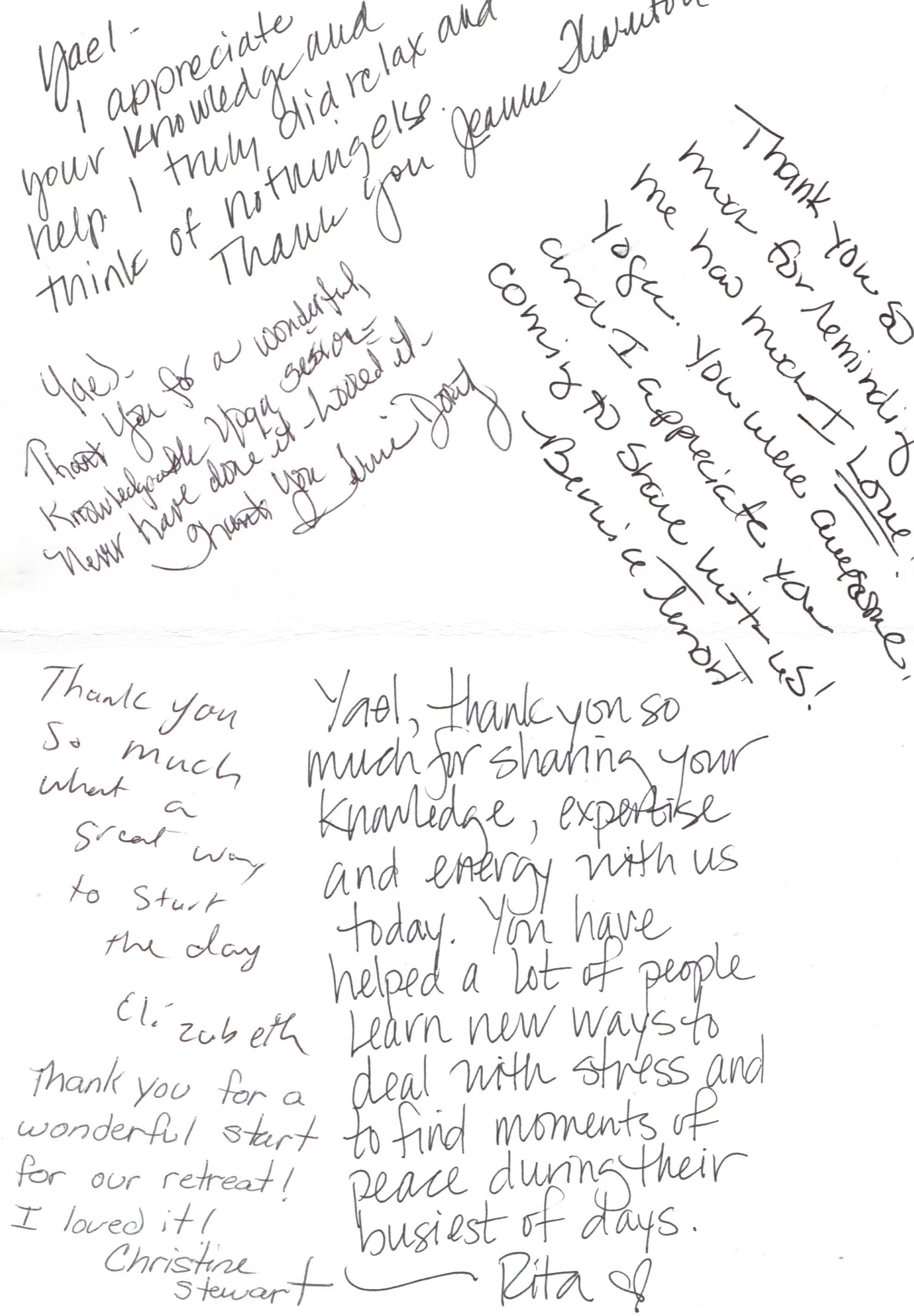 Handwritten notes from the nurses at the U of U