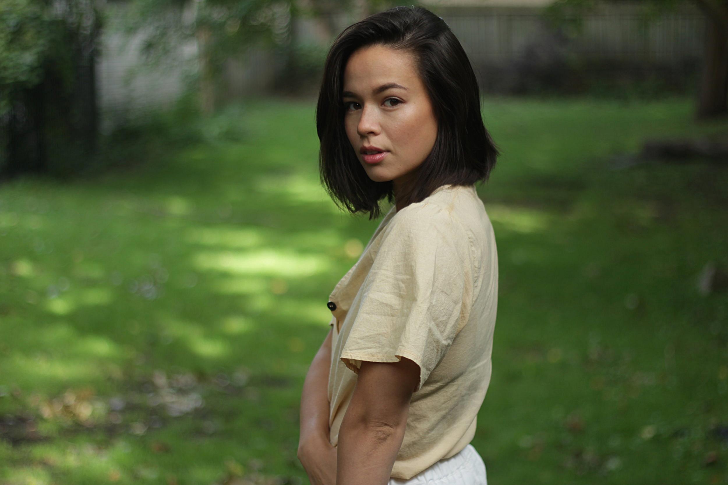 Wearing Abel Wear's organic cotton blouse.