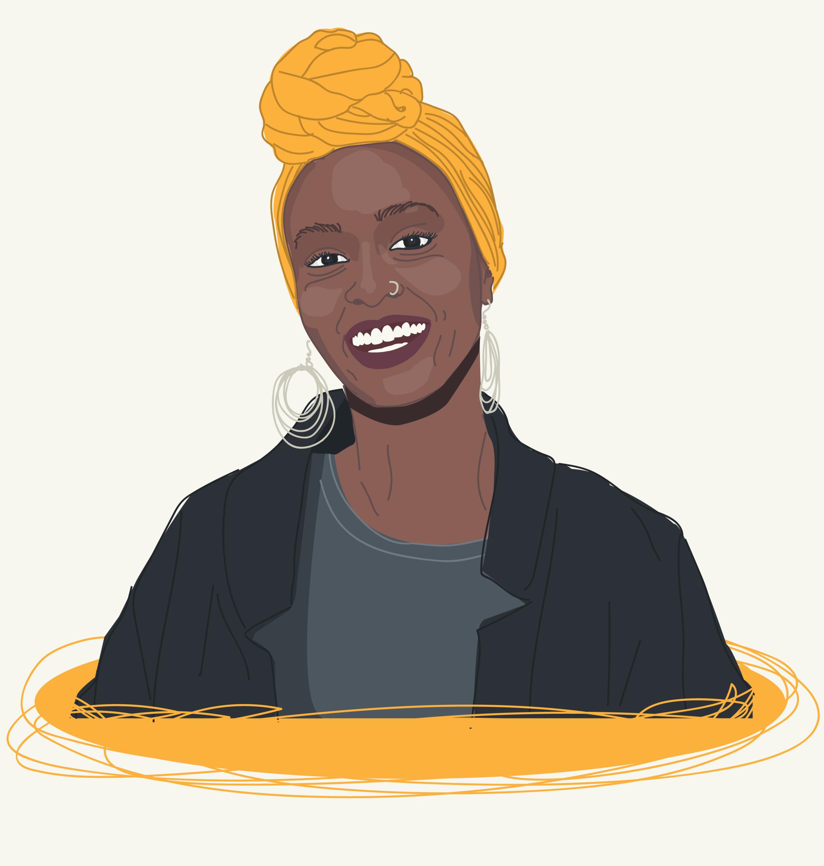 Beautiful black woman with head scarf illustration